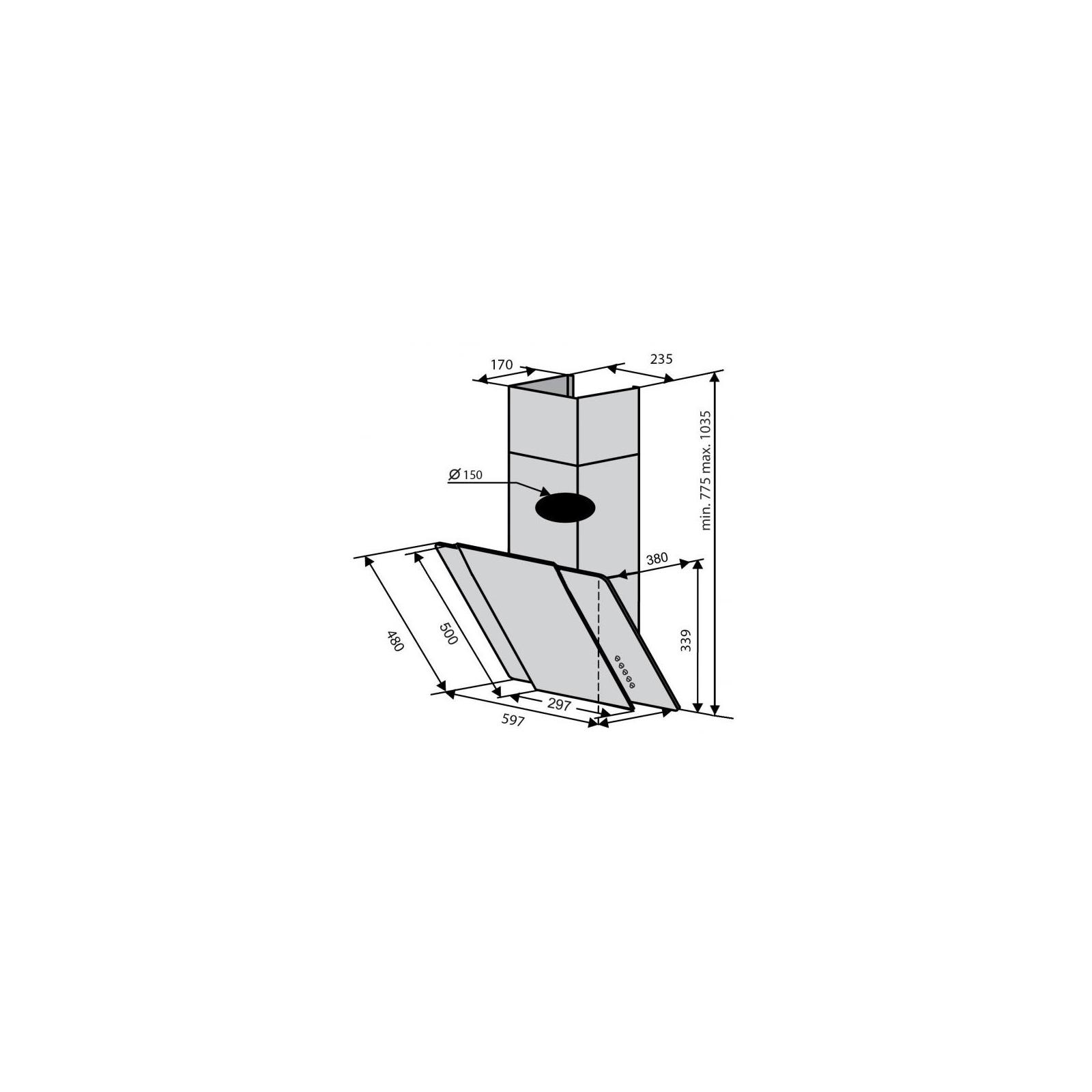 Вытяжка кухонная Ventolux TORINO 60 X/BK (1000) IT изображение 2