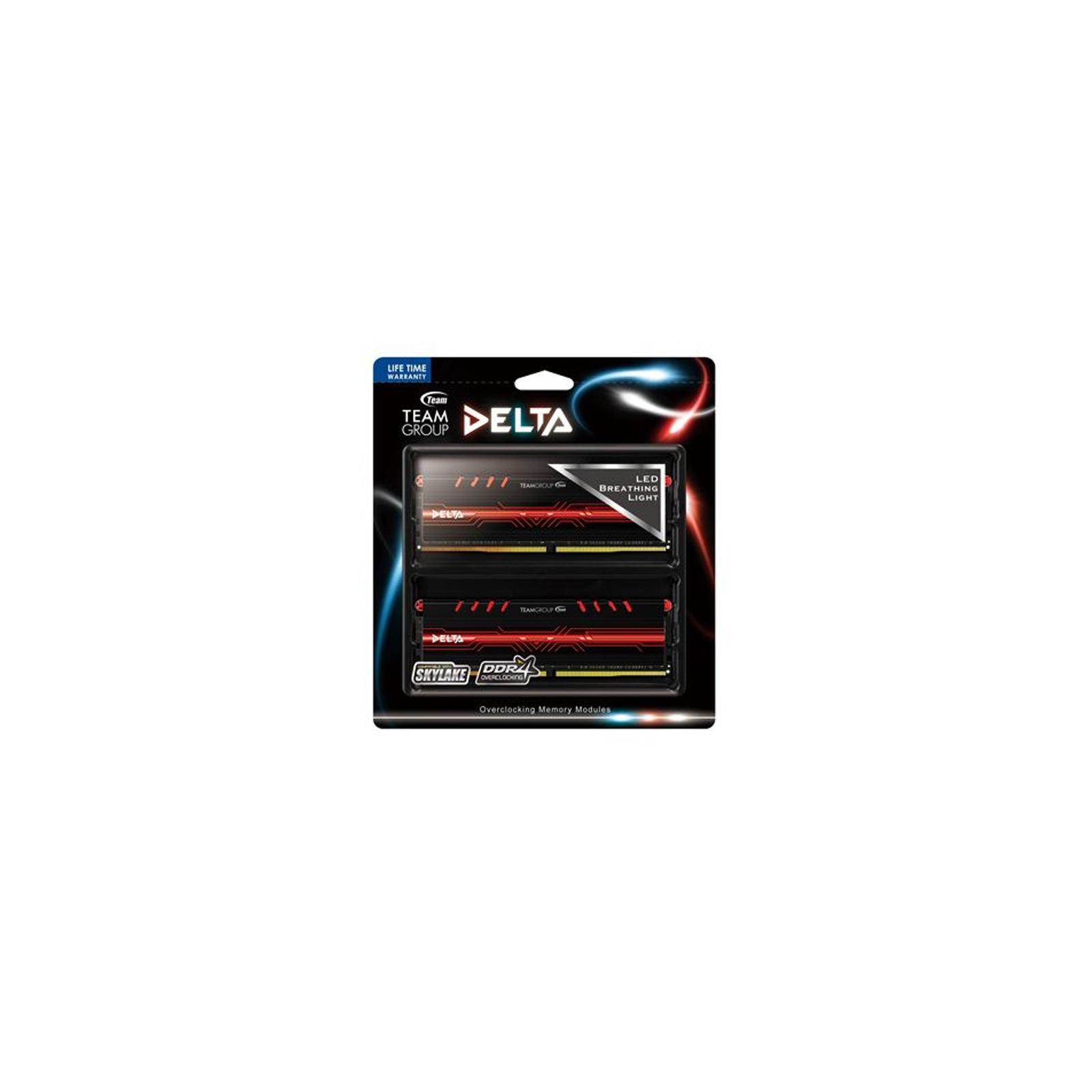 Модуль памяти для компьютера DDR4 16GB (2x8GB) 2400 MHz Delta Red LED Team (TDTRD416G2400HC15ADC01) изображение 3