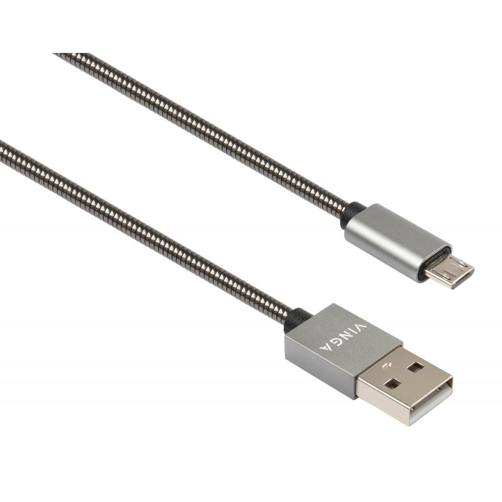 Дата кабель USB 2.0 AM to Micro 5P 1m stainless steel gray Vinga (VCPDCMSSJ1GR)