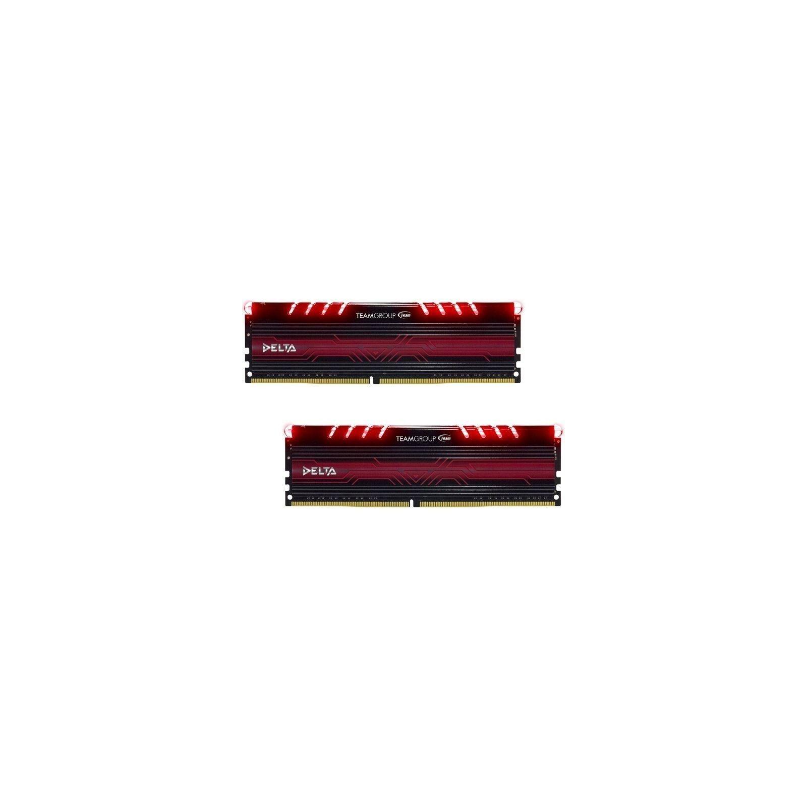 Модуль памяти для компьютера DDR4 16GB (2x8GB) 3000 MHz Delta Red LED Team (TDTRD416G3000HC16ADC01)