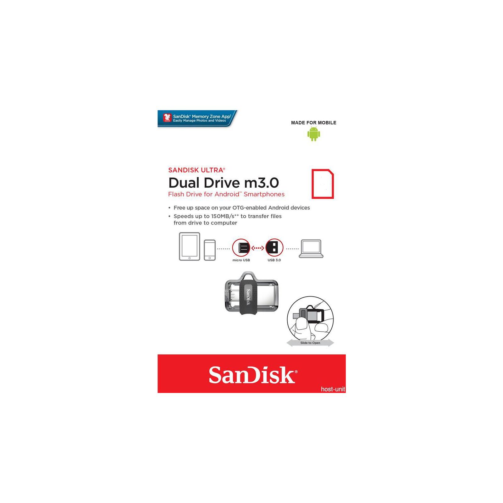 USB флеш накопитель SanDisk 64GB Ultra Dual Black USB 3.0 OTG (SDDD3-064G-G46) изображение 7