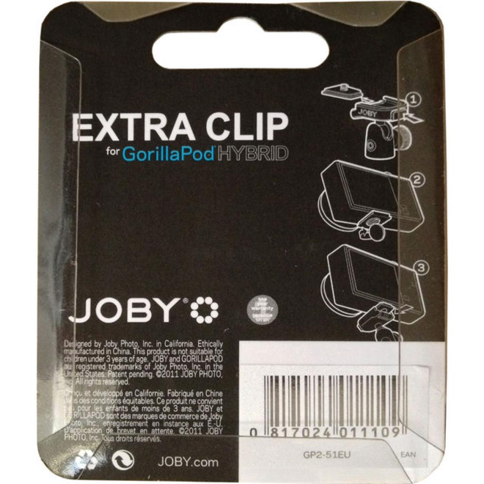 Площадка для штативной головы JOBY GorillaPod Hybrid Quick Release Clip (Black/Grey) (JB01110-CEU) изображение 2