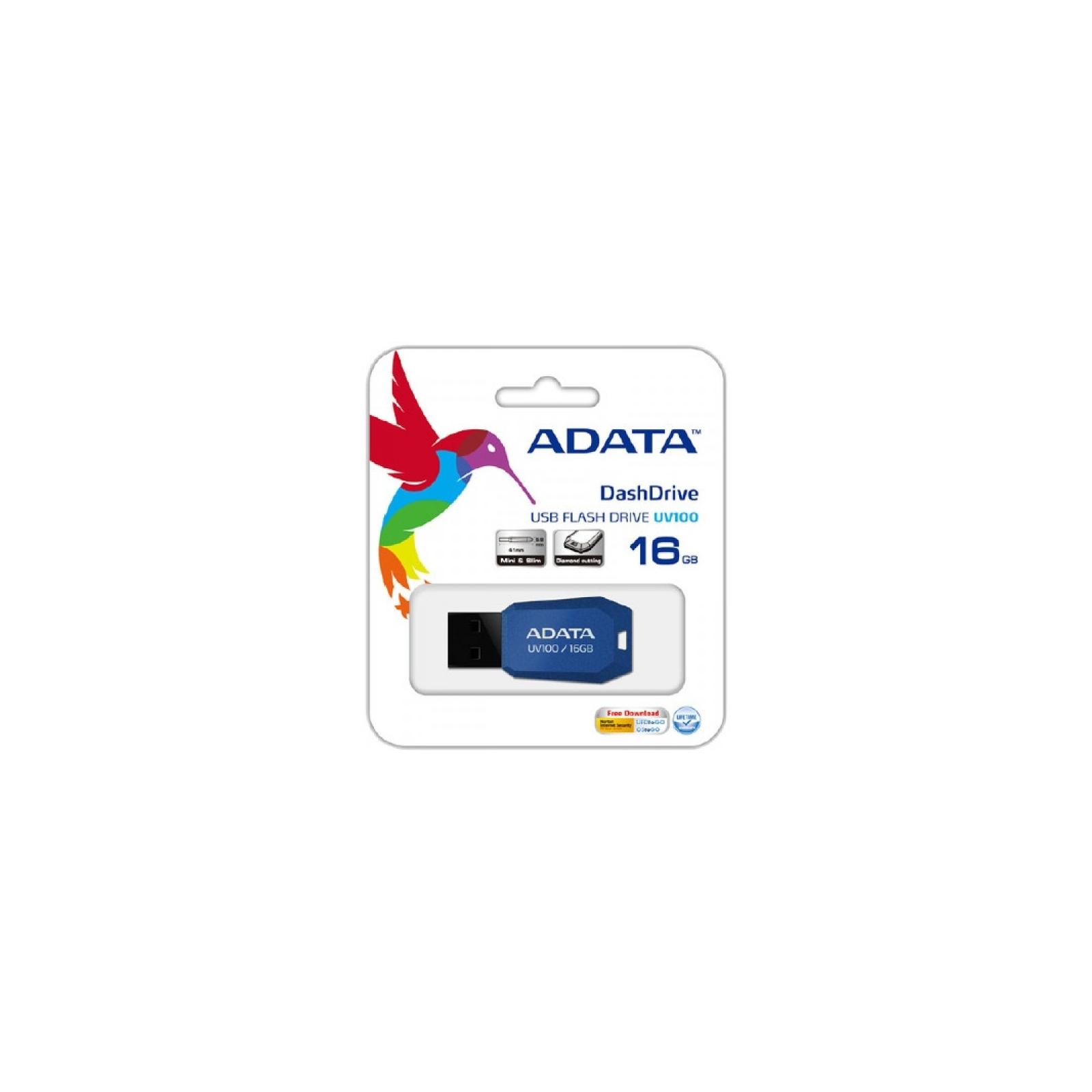 USB флеш накопитель ADATA 32GB DashDrive UV100 Blue USB 2.0 (AUV100-32G-RBL) изображение 3