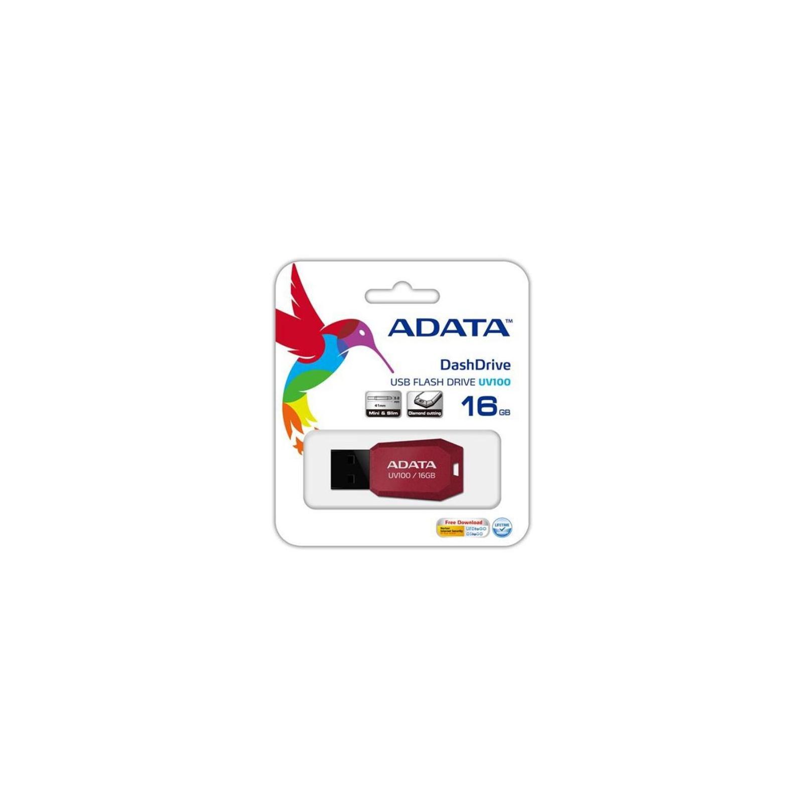 USB флеш накопитель ADATA 32GB DashDrive UV100 Red USB 2.0 (AUV100-32G-RRD) изображение 4