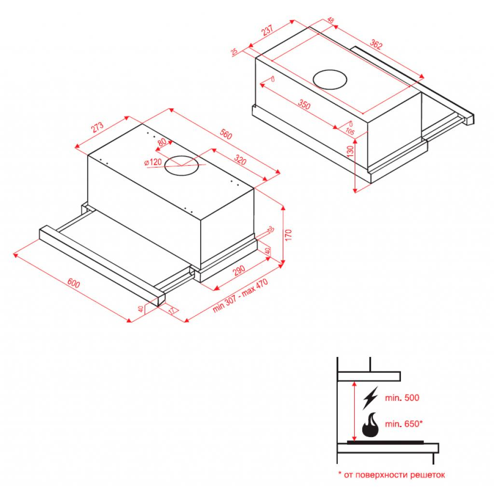 Вытяжка кухонная Perfelli TL 6112 IV LED изображение 7
