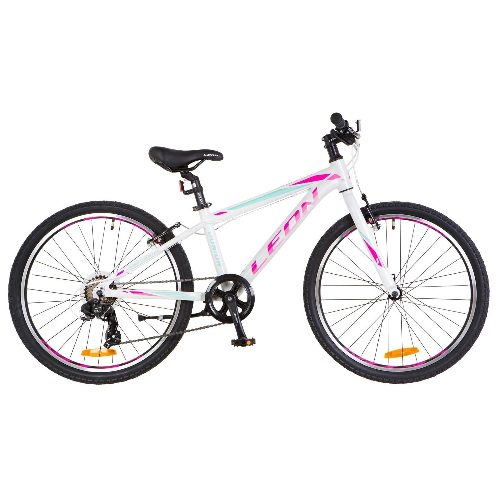 """Велосипед Leon 24"""" JUNIOR 2018 AM 14G Vbr рама-12,5"""" Al бело-малиновый (OPS-LN-24-017)"""