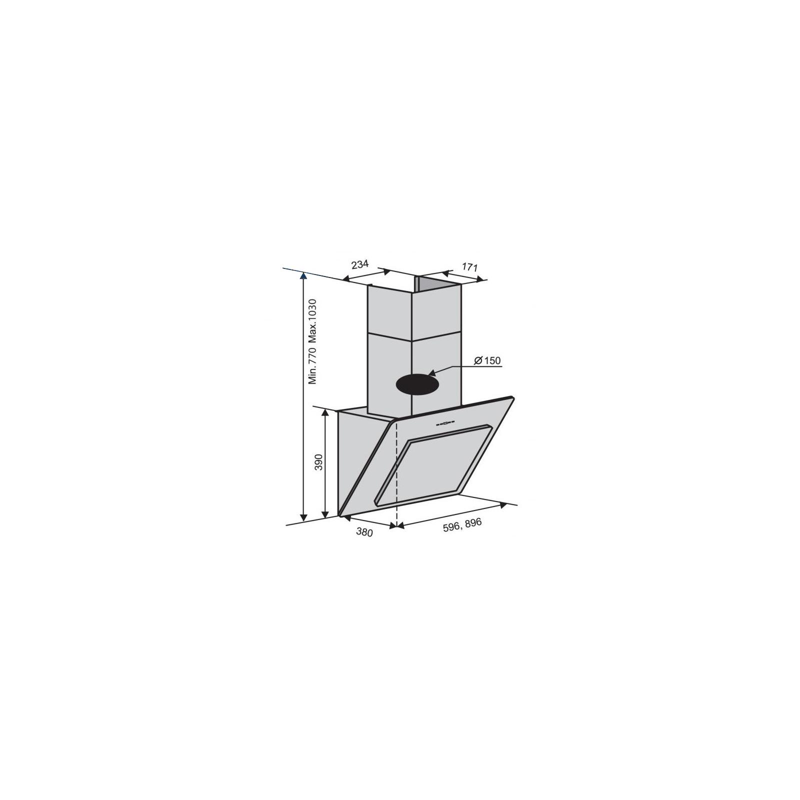 Вытяжка кухонная VENTOLUX TREVI 90 WH (1000) TC IT изображение 2