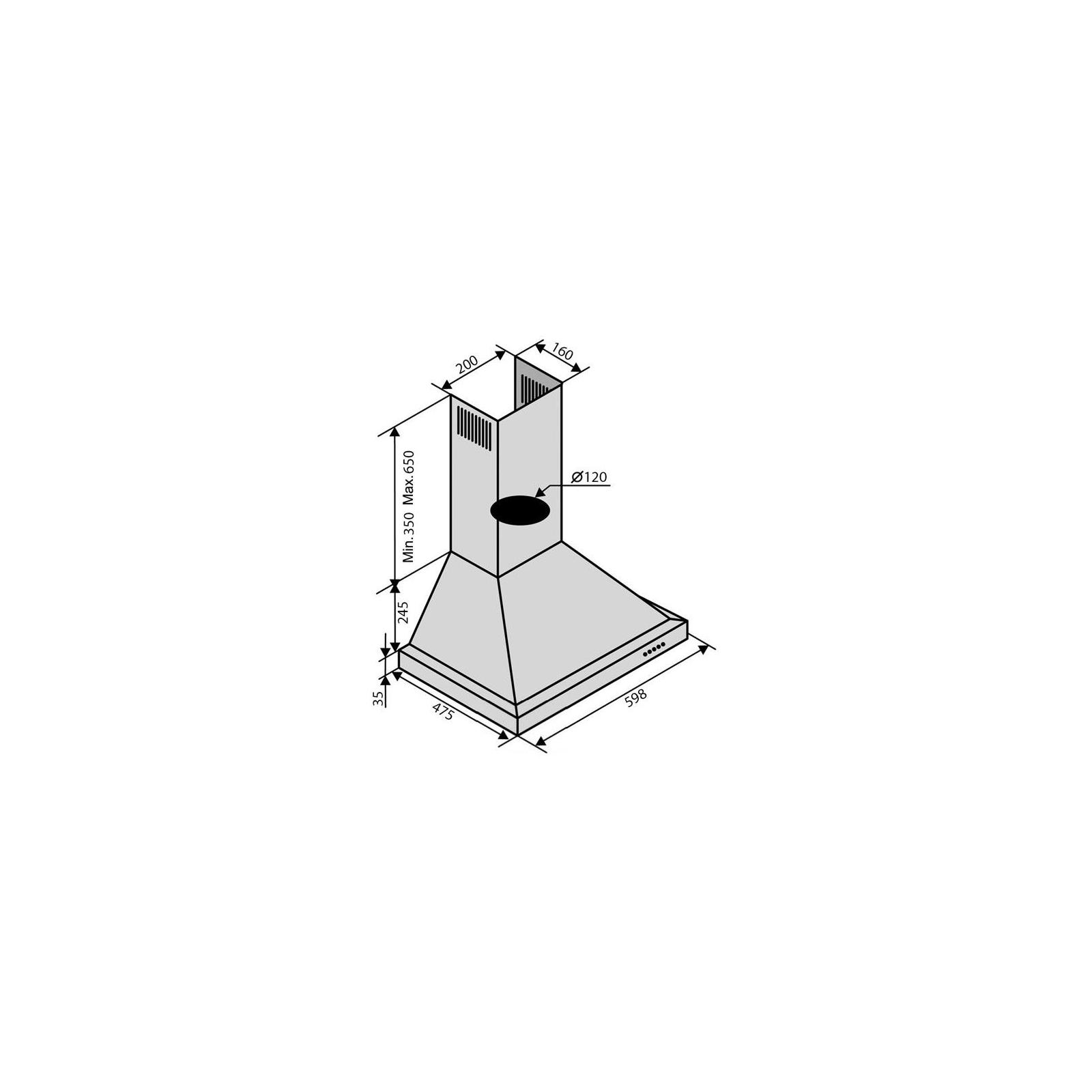 Вытяжка кухонная Ventolux LAZIO 60 INOX (900) изображение 6