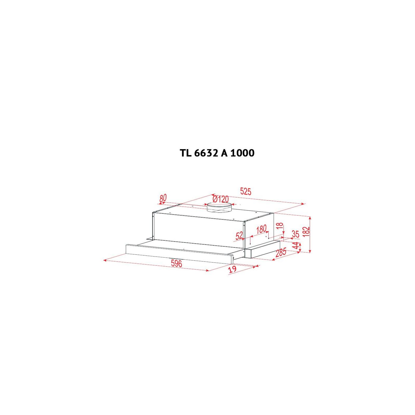 Вытяжка кухонная PERFELLI TL 6632 A 1000 BL GLASS изображение 8