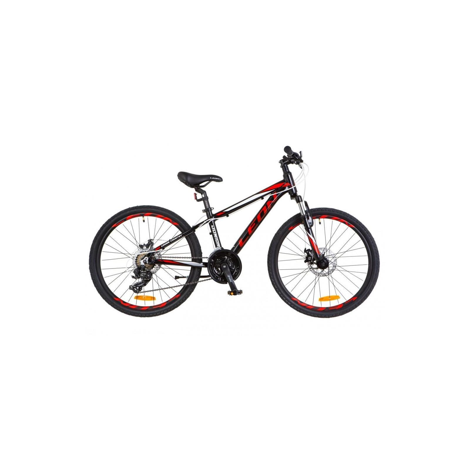 """Велосипед Leon 24"""" JUNIOR 2018 AM 14G Vbr рама-12,5"""" Al чёрно-красный (OPS-LN-24-015)"""