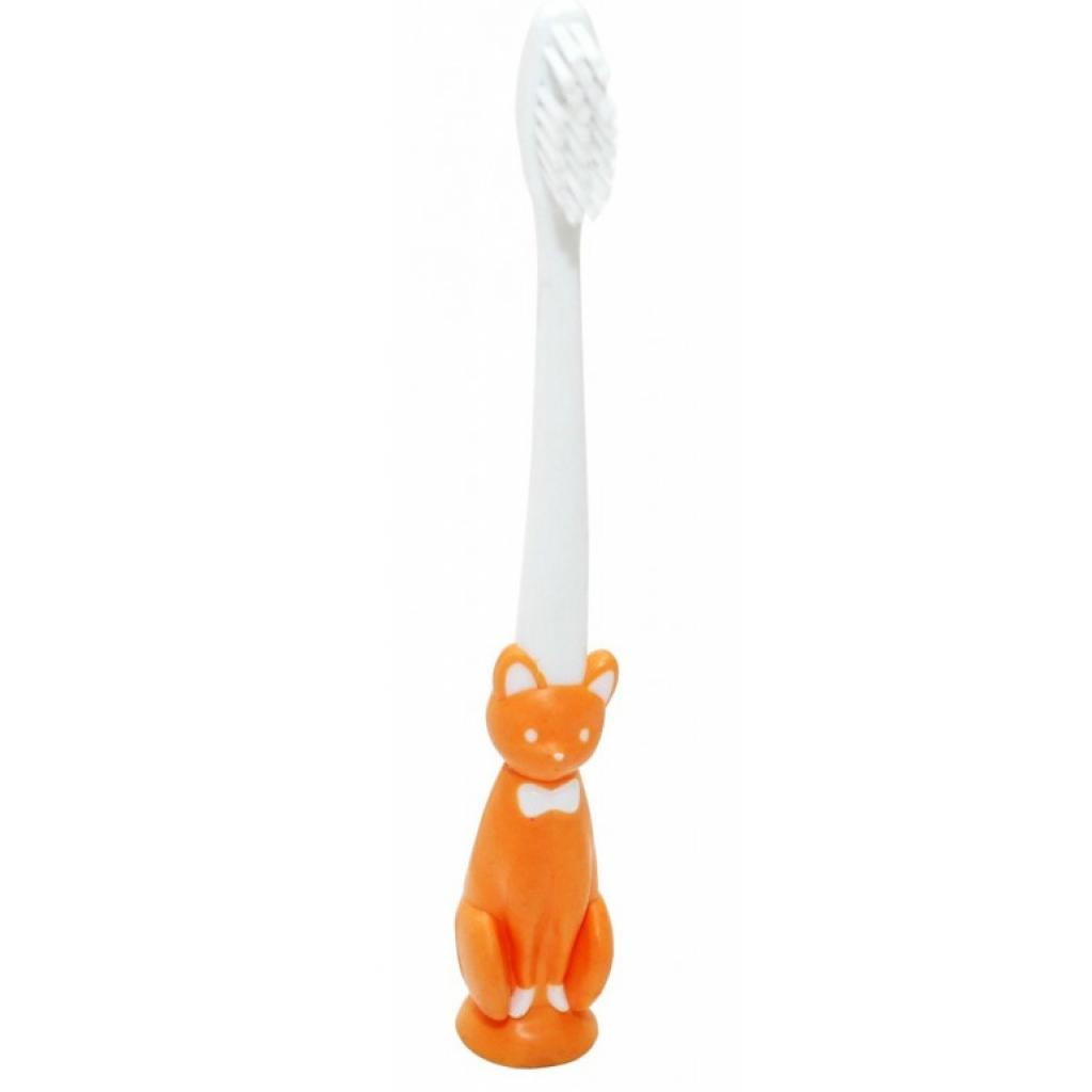 Детская зубная щетка Baby Team с присоской котик оранжевый (7202_котик_оранжевый)
