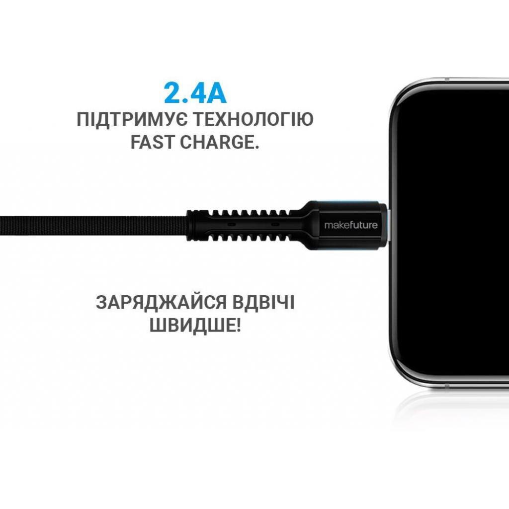 Дата кабель USB 2.0 AM to Lightning 1.0m Denim Grey MakeFuture (MCB-LD2GR) изображение 3