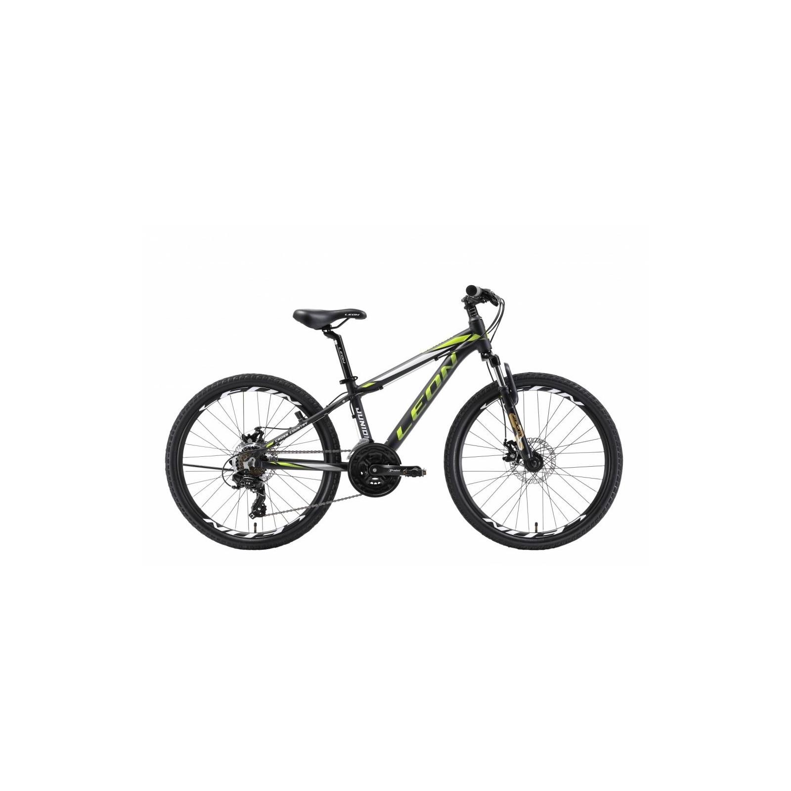 """Велосипед Leon 24"""" JUNIOR 2018 AM 14G Vbr рама-12,5"""" Al черно-салатовый (OPS-LN-24-016)"""