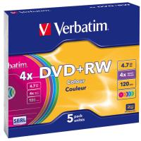 Диск DVD+RW Verbatim 4.7Gb 4x SlimCase 5шт Color (43297)