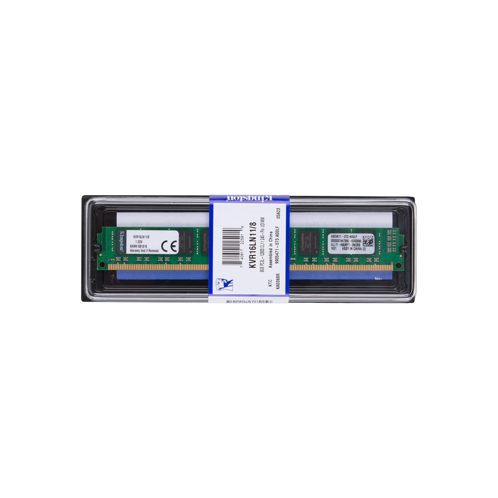 Модуль памяти для компьютера DDR3 8GB 1600 MHz Kingston (KVR16LN11/8) изображение 5