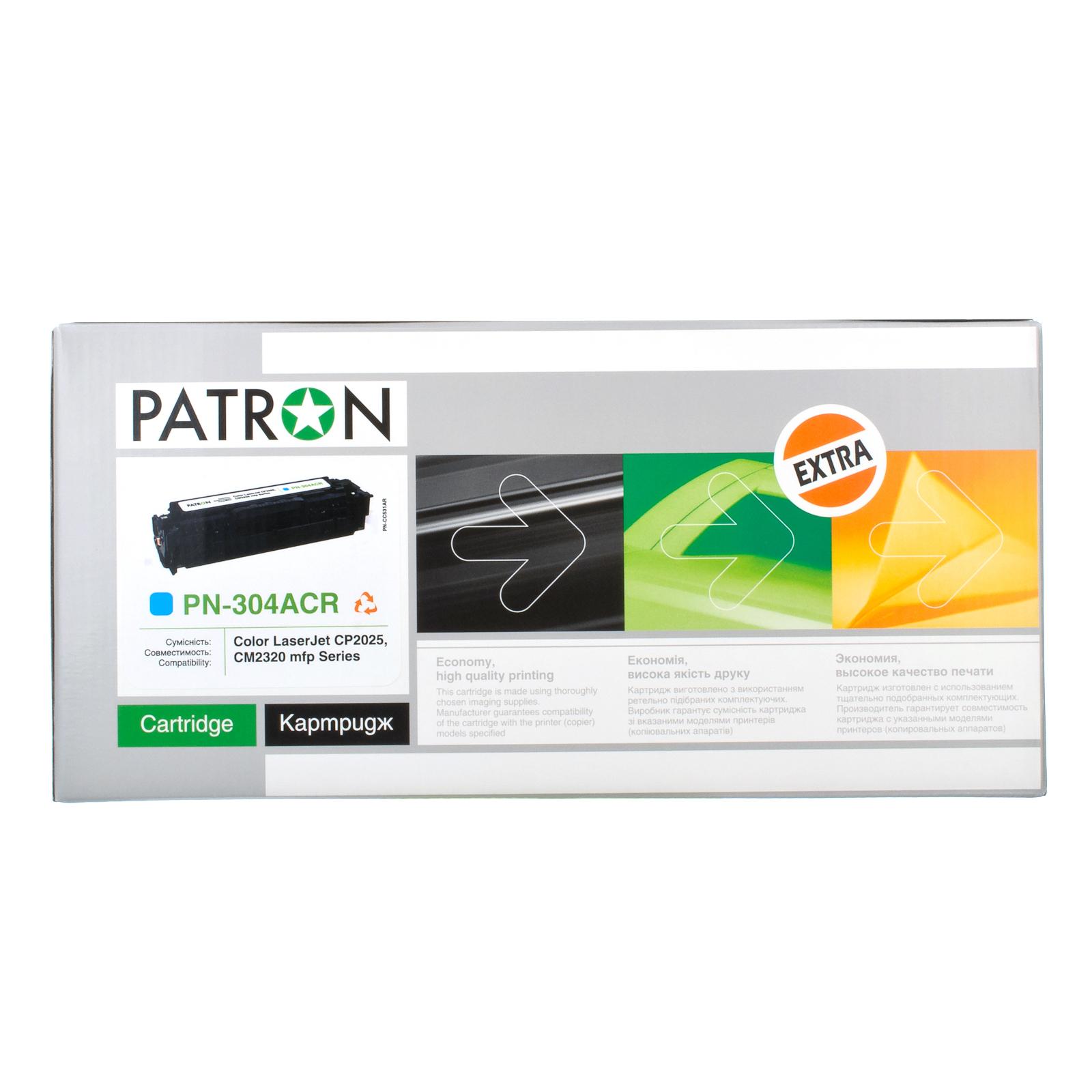 Картридж PATRON HP CLJ CP2025/ CM2320 (PN-304ACR) CYAN Extra (CT-HP-CC531A-C-PN-R) изображение 3