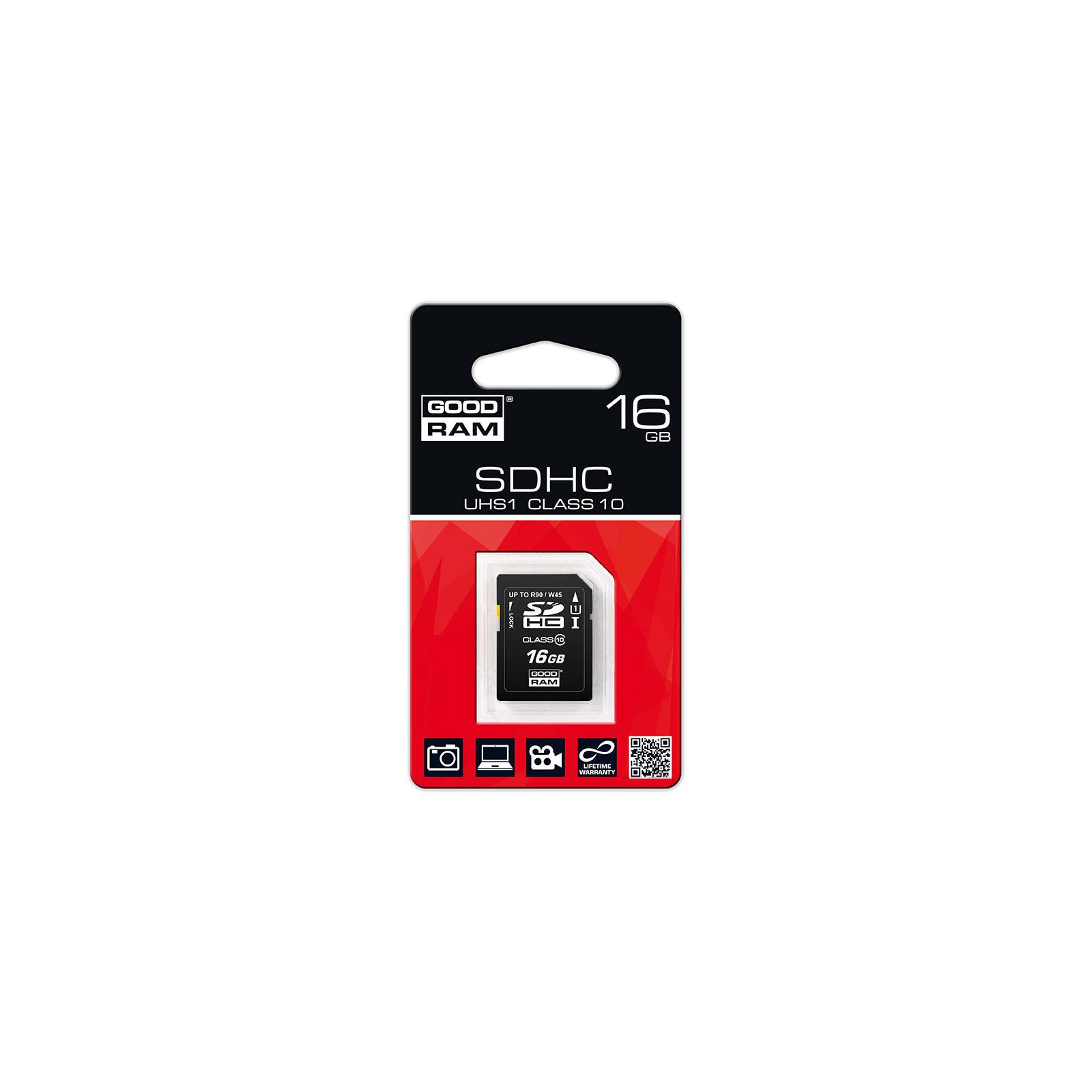 Карта памяти GOODRAM 16GB SDHC Class 10 UHS-I (SDC16GHCUHS1GRR10) изображение 2