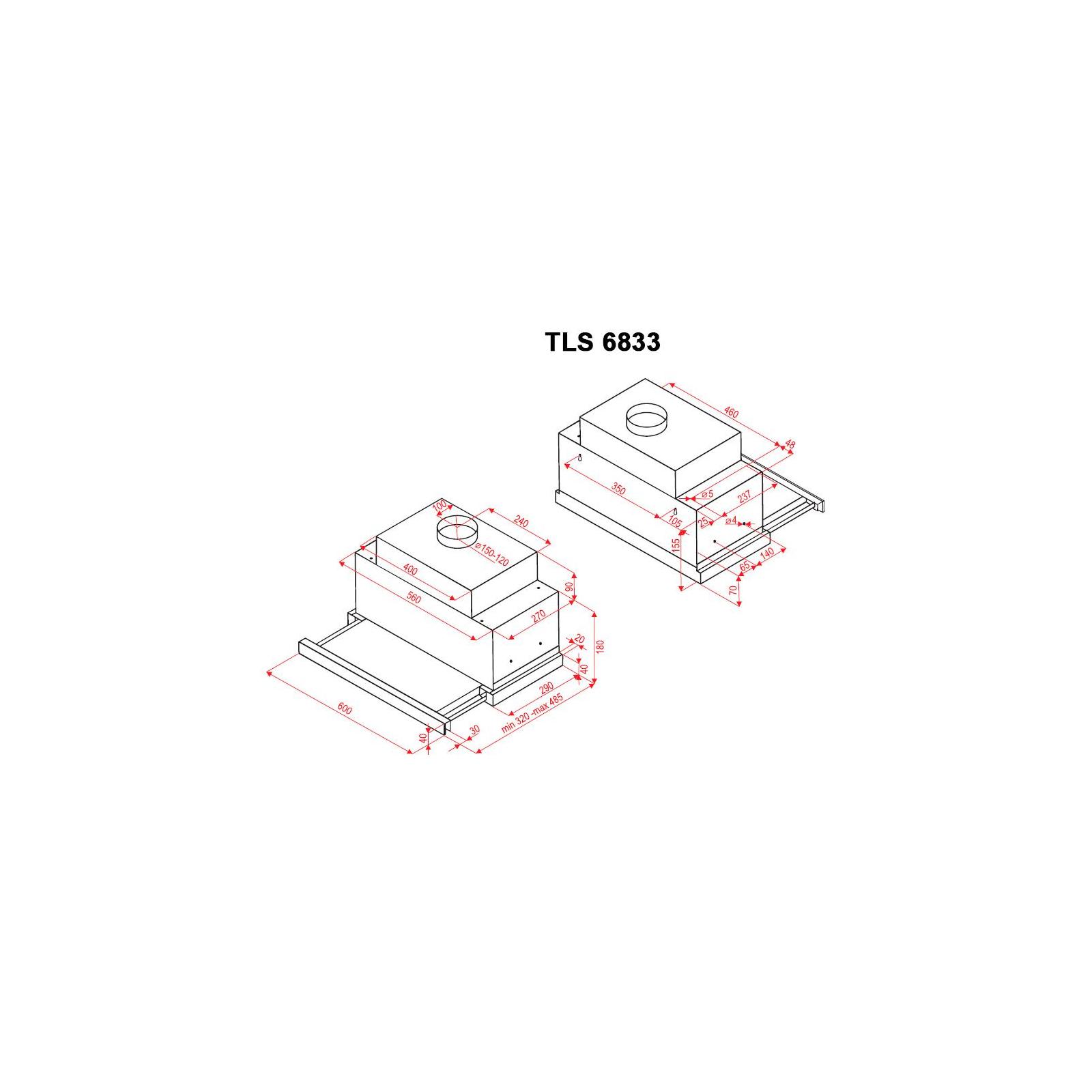 Вытяжка кухонная PERFELLI TLS 6833 BL LED Strip изображение 9