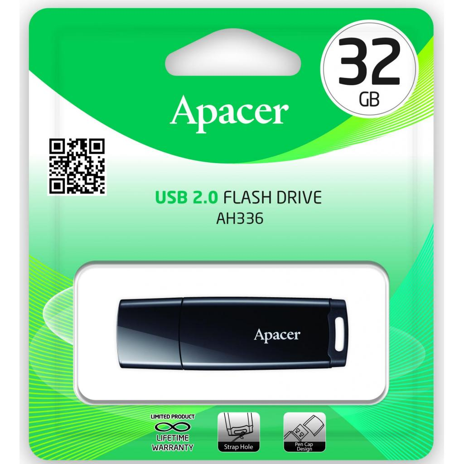 USB флеш накопитель Apacer 32GB AH336 Black USB 2.0 (AP32GAH336B-1) изображение 5