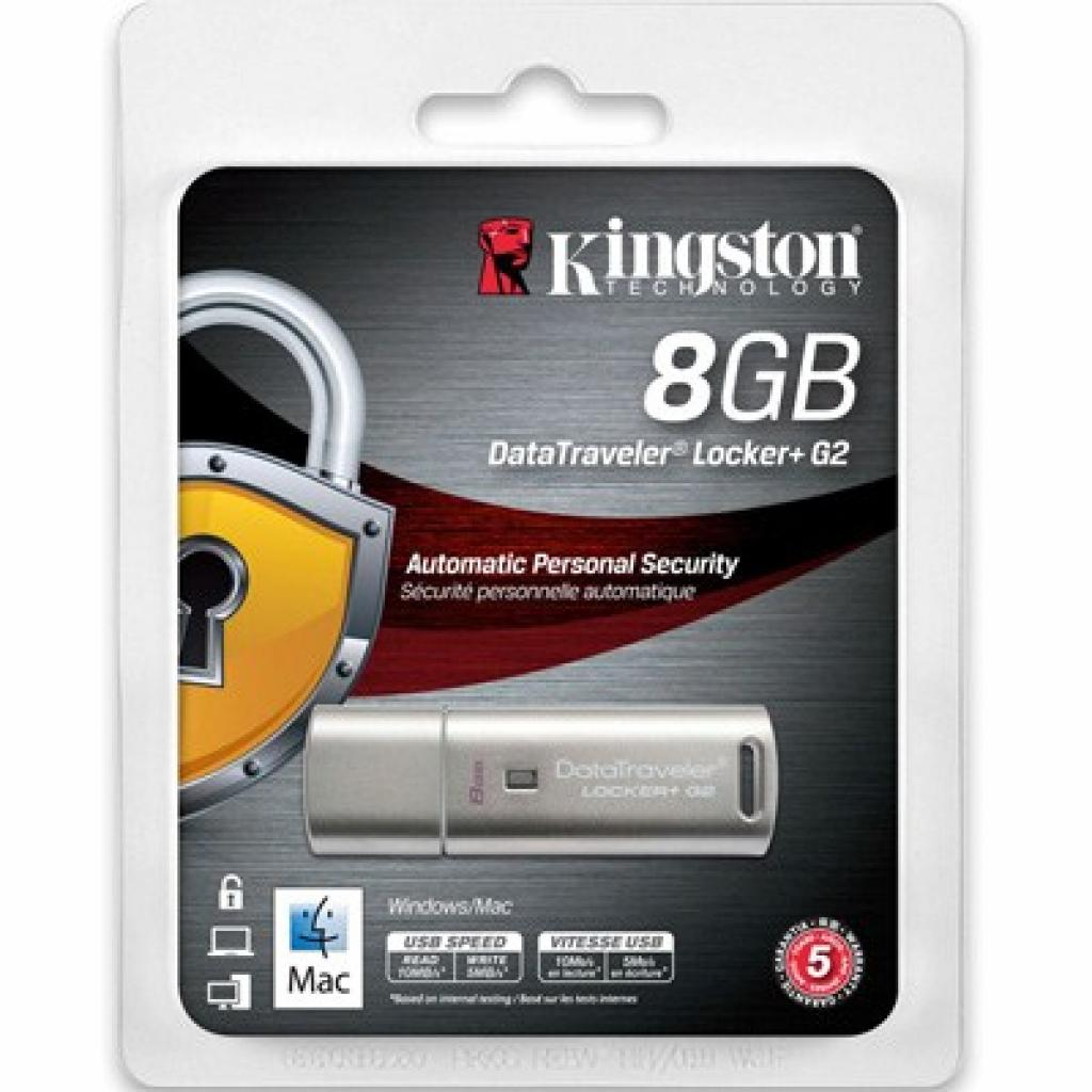 USB флеш накопитель Kingston 8Gb DataTraveler Locker+ G2 (DTLPG2/8GB) изображение 3