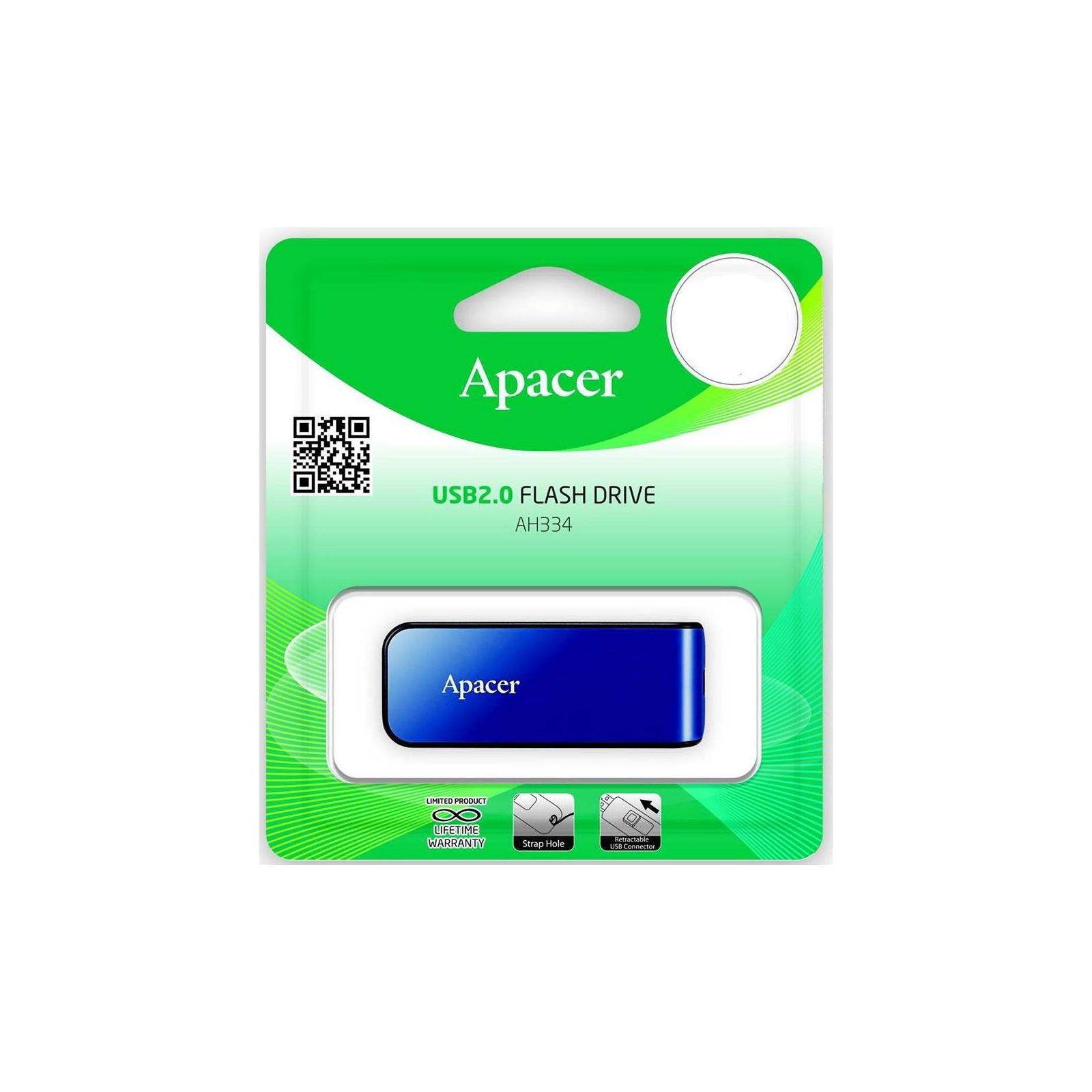 USB флеш накопитель Apacer 64GB AH334 blue USB 2.0 (AP64GAH334U-1) изображение 6