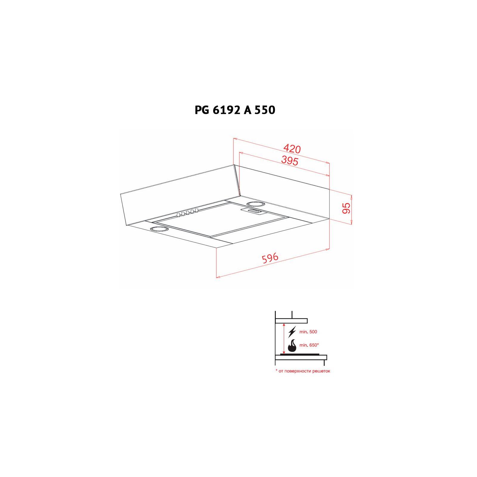 Вытяжка кухонная PERFELLI PG 6192 A 550 BL LED GLASS изображение 7