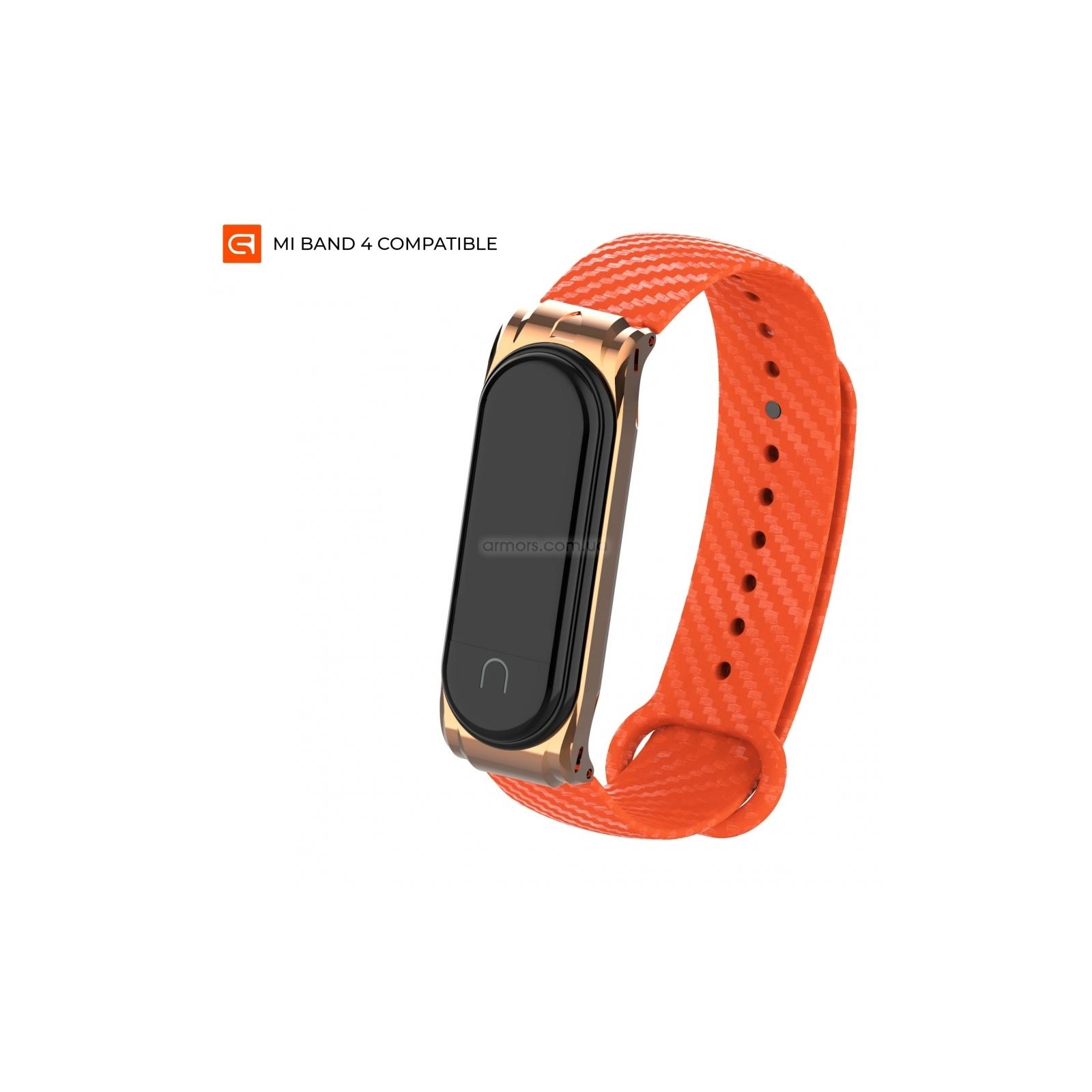 Ремешок для фитнес браслета Armorstandart Carbon Silicone Series для Xiaomi Mi Band 4/3 Orange (ARM55197)
