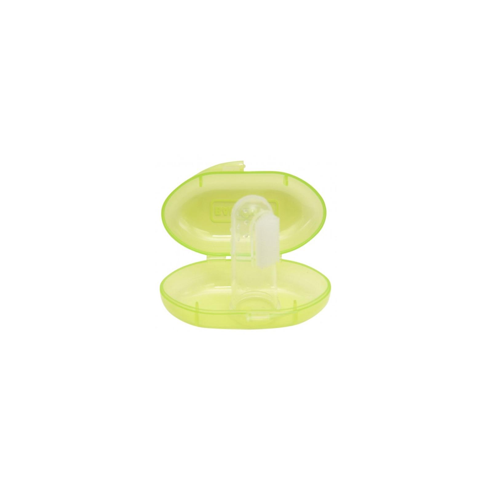 Детская зубная щетка Baby Team силиконовая щетка-массажер с контейнером (7200_салатовый)