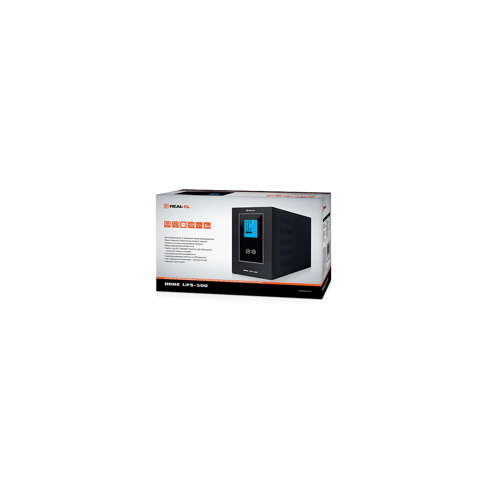 Пристрій безперебійного живлення REAL-EL HOME UPS-500 (EL122100001) зображення 3