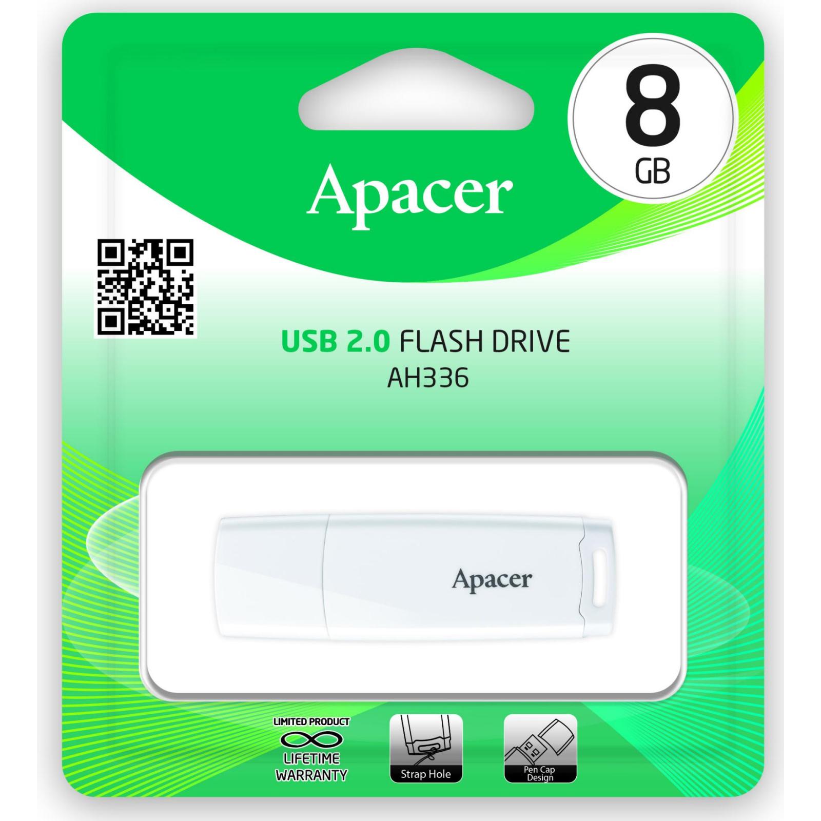 USB флеш накопитель Apacer 8GB AH336 White USB 2.0 (AP8GAH336W-1) изображение 4
