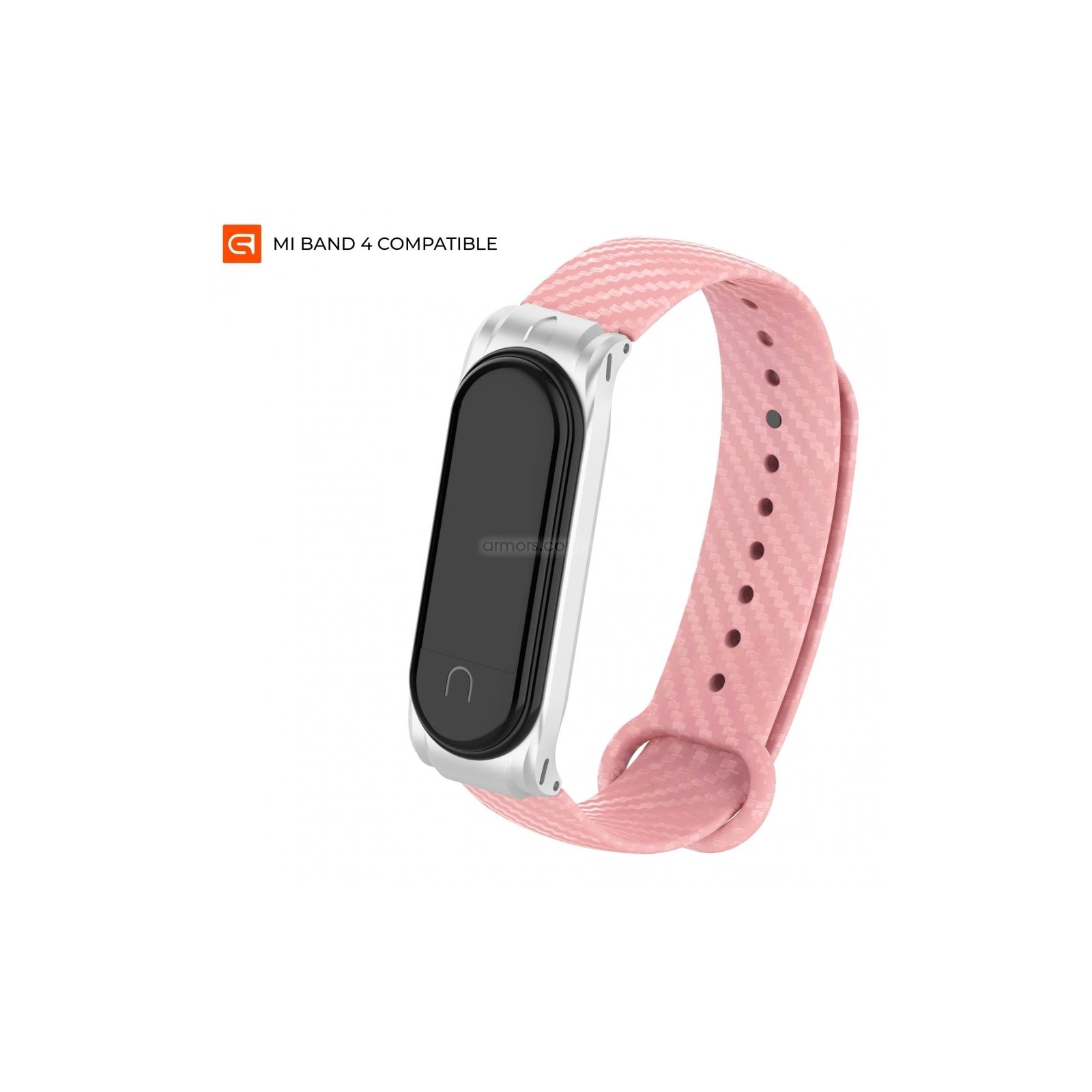Ремешок для фитнес браслета Armorstandart Carbon Silicone Series для Xiaomi Mi Band 4/3 Pink (ARM55198)