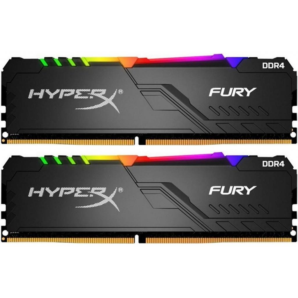 Модуль пам'яті для комп'ютера DDR4 64GB (2x32GB) 3600 MHz HyperX Fury RGB Black Kingston (HX436C18FB3AK2/64)