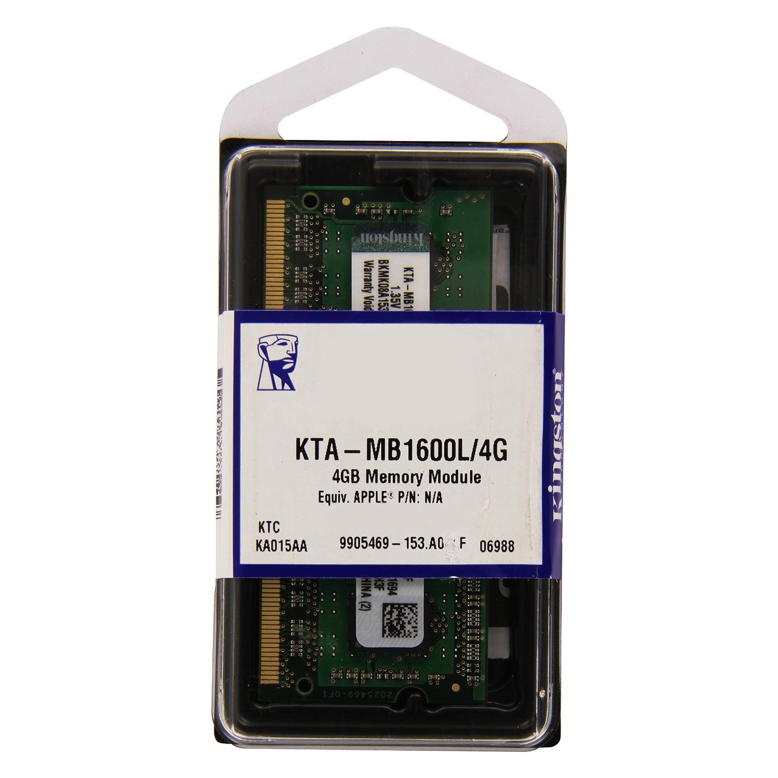 Модуль памяти для ноутбука SoDIMM DDR3 4GB 1600 MHz Kingston (KTA-MB1600L/4G) изображение 3