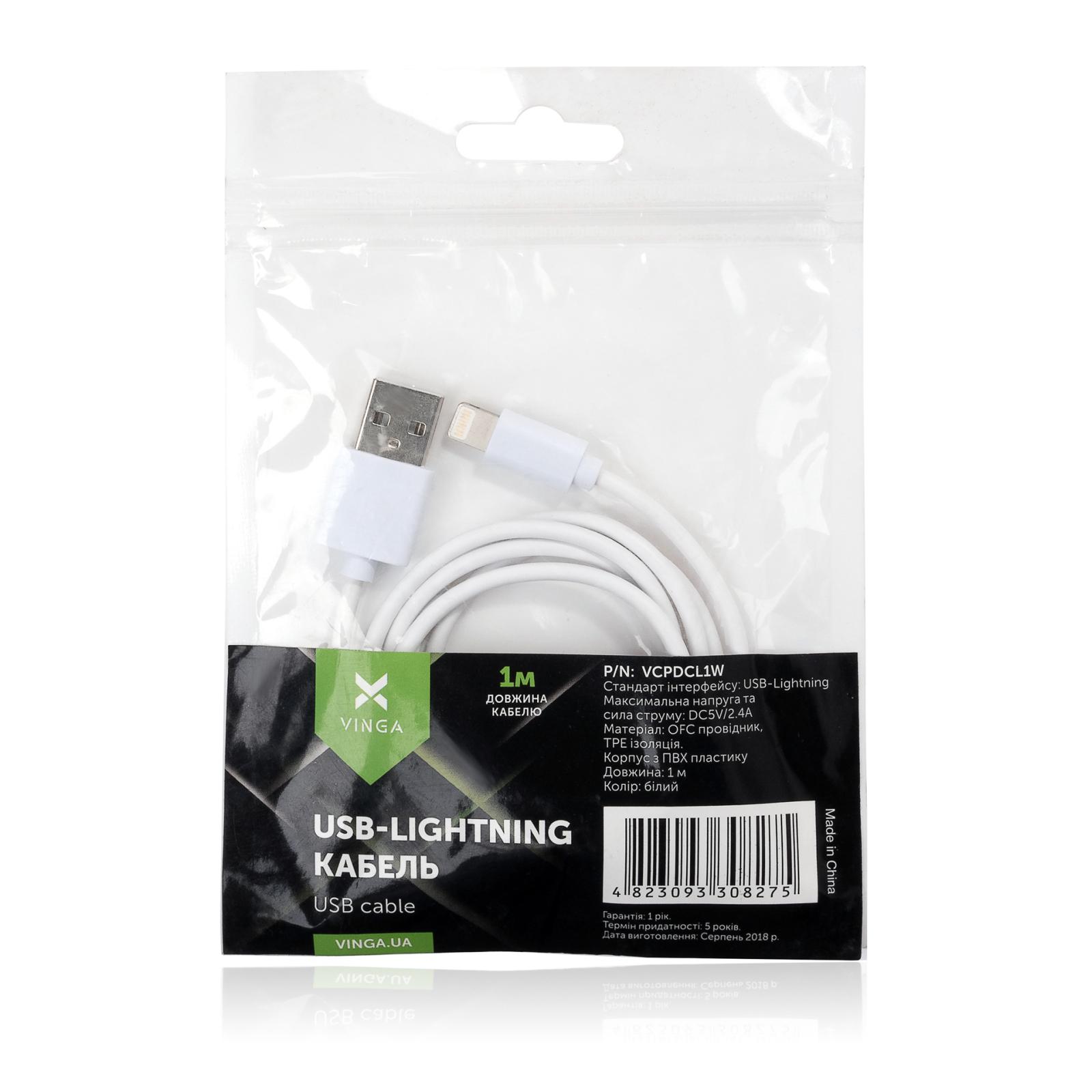 Дата кабель USB 2.0 AM to Lightning PVC 1m white Vinga (VCPDCL1W) изображение 4
