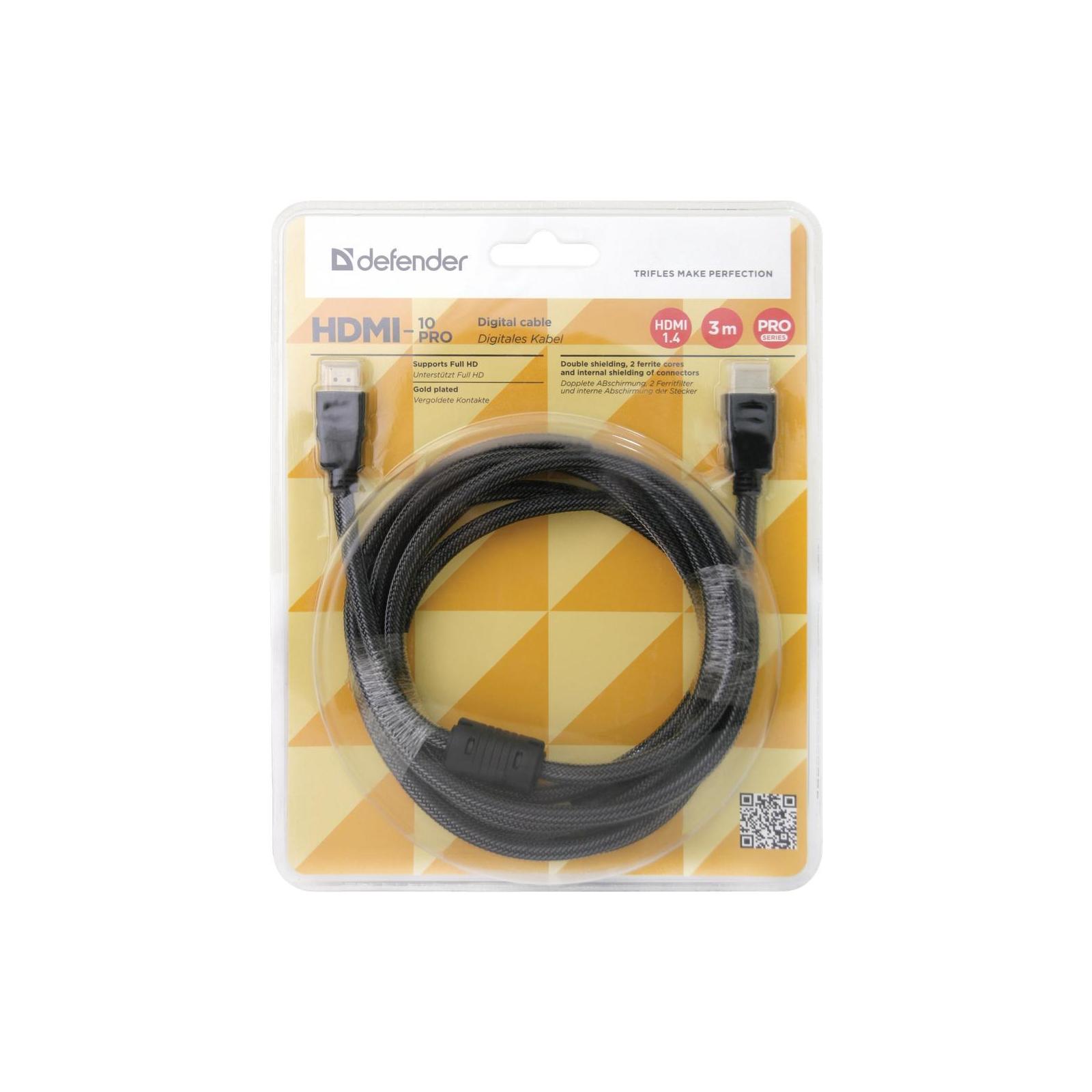 Кабель мультимедийный HDMI to HDMI 3m HDMI-10PRO v1.4 Defender (87434) изображение 3