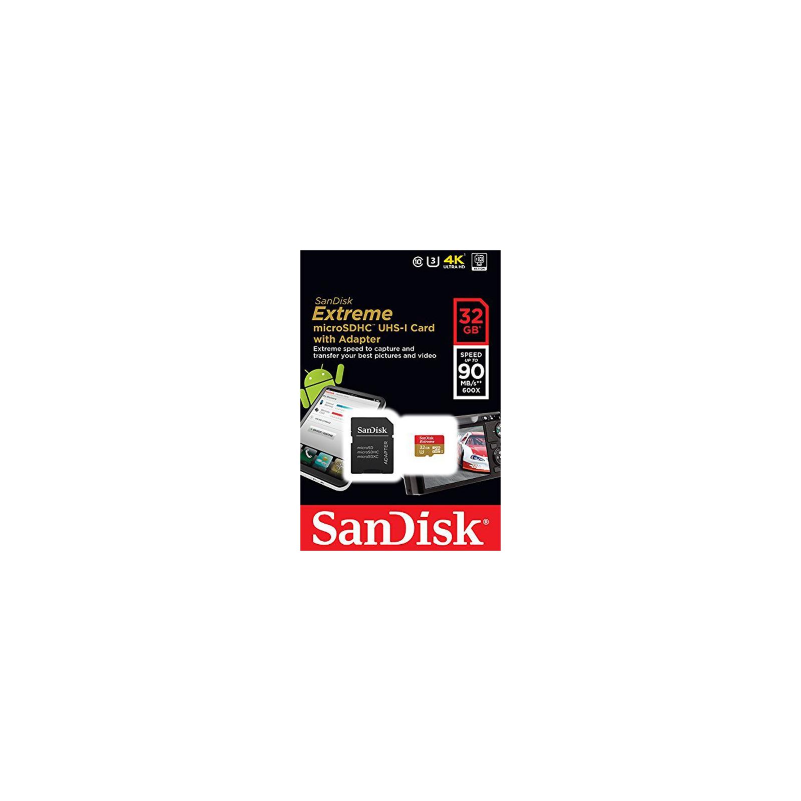 Карта памяти SANDISK 32GB microSDHC Extreme Class 10 UHS-I U3 (SDSQXNE-032G-GN6MA) изображение 5