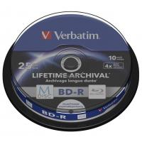 Диск BD Verbatim 25Gb 4x Cake 10pcs Printable M-DISC (43825)