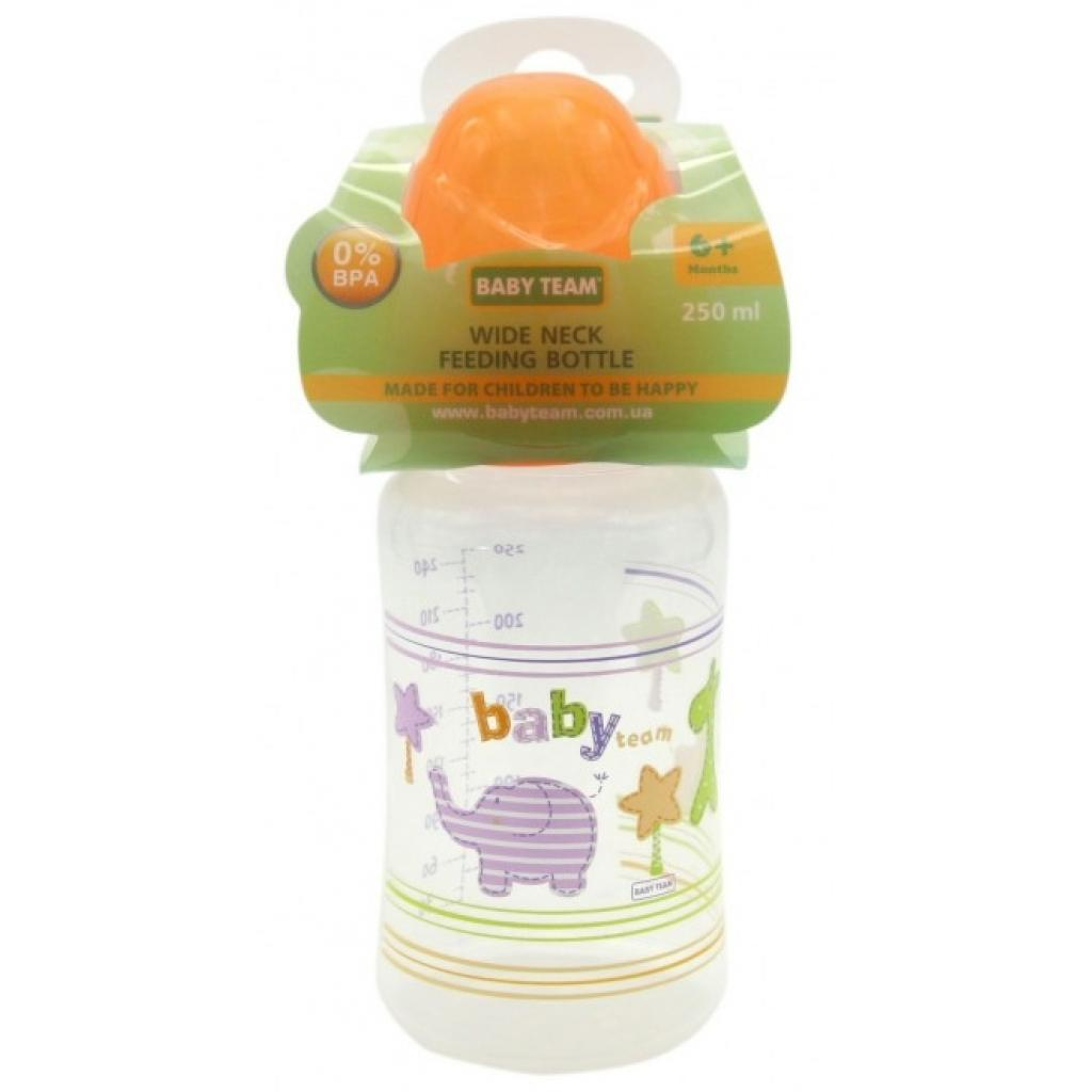 Бутылочка для кормления Baby Team c широким горлом, 250мл 6+ (1002_желтый) изображение 2
