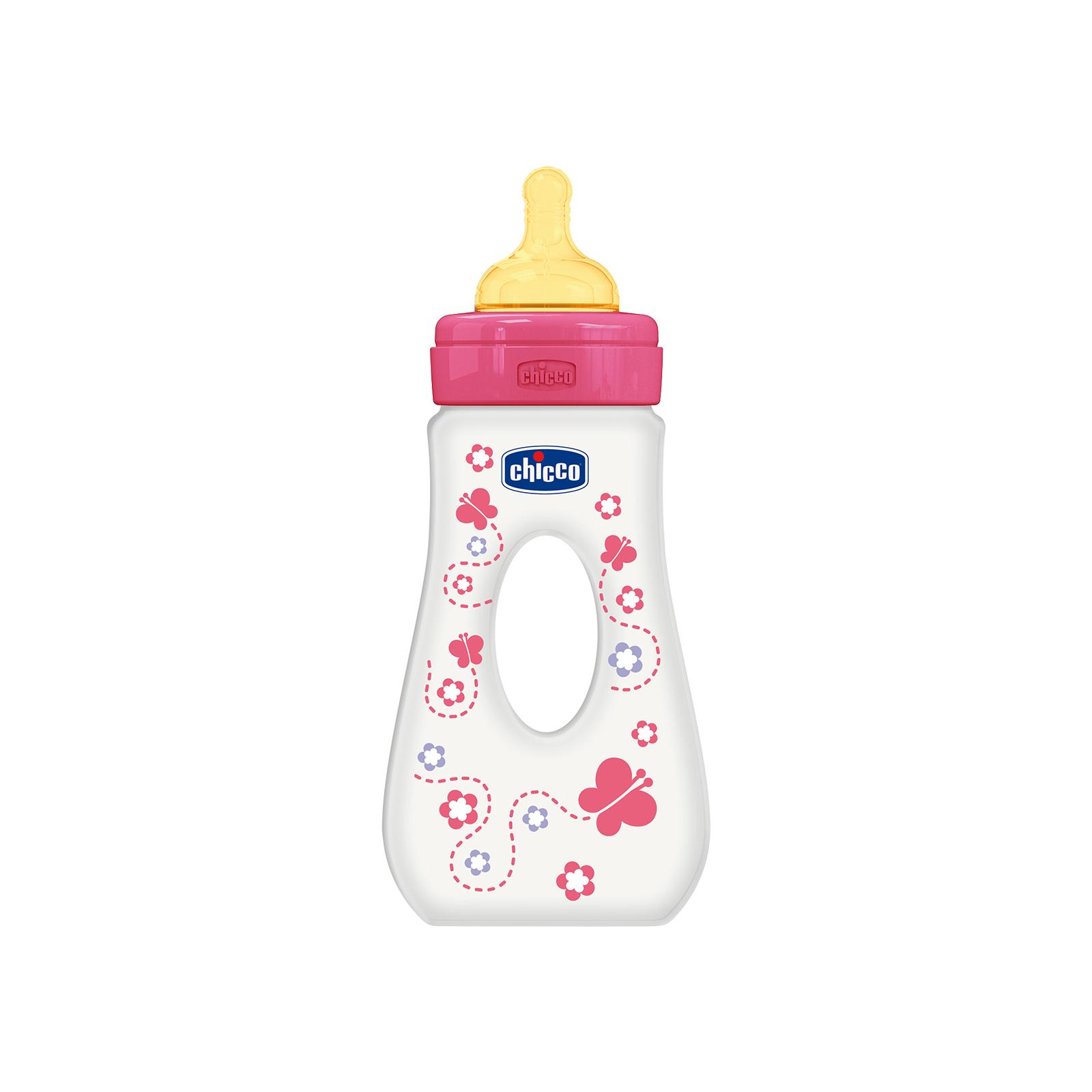 Бутылочка для кормления Chicco Travelling 240 мл с латексной соской 4 мес+ для девочек (75724.11)