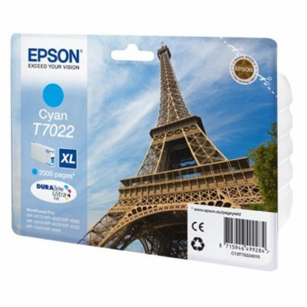 Картридж EPSON WP 4000/ 4500 XL cyan 2k (C13T70224010)