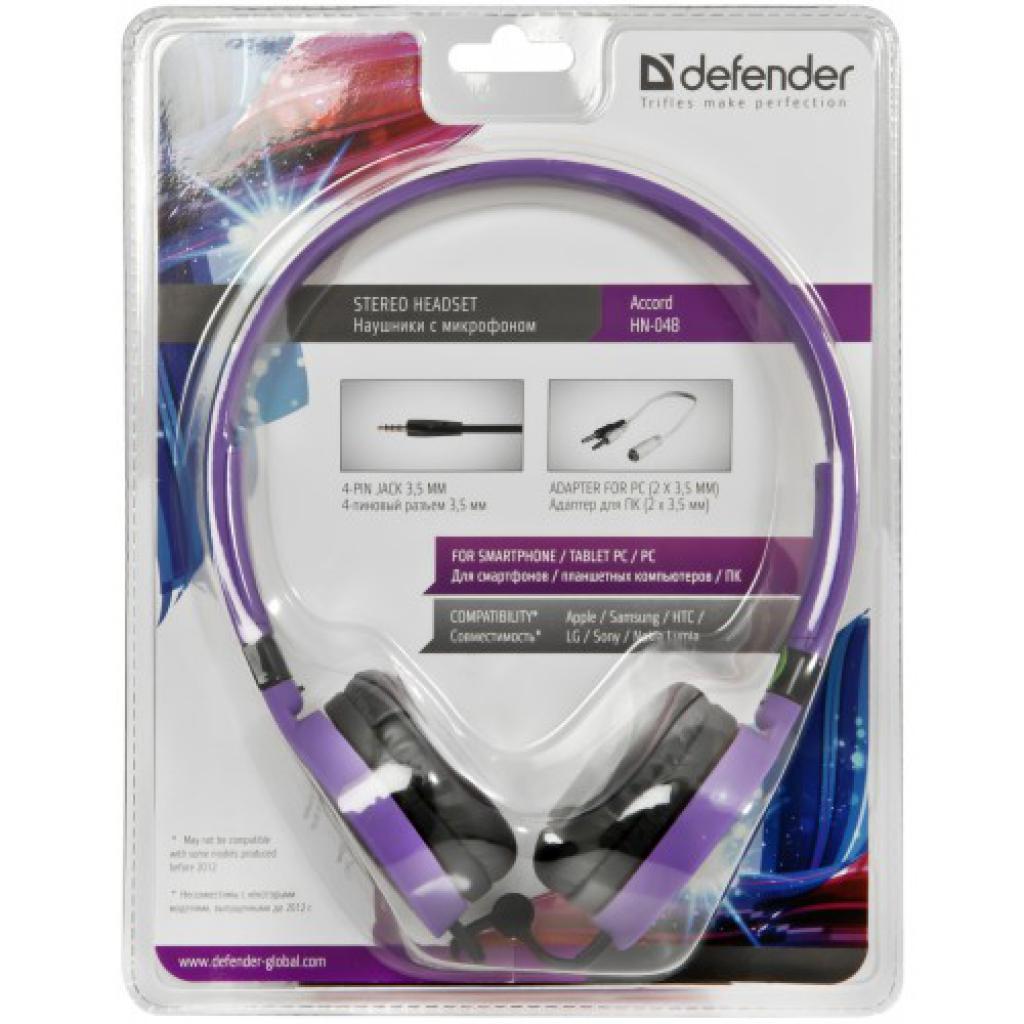 Наушники Defender Accord HN-048 purple (фіолетовий) (63049) изображение 3