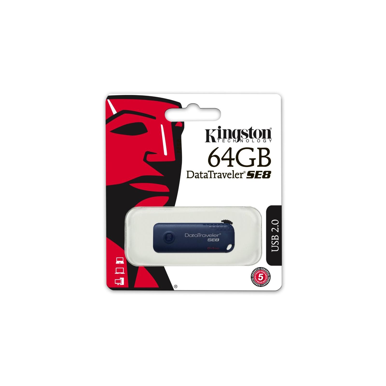 USB флеш накопитель Kingston 64GB DT SE 8 Blue USB 2.0 (DTSE8/64GB) изображение 6