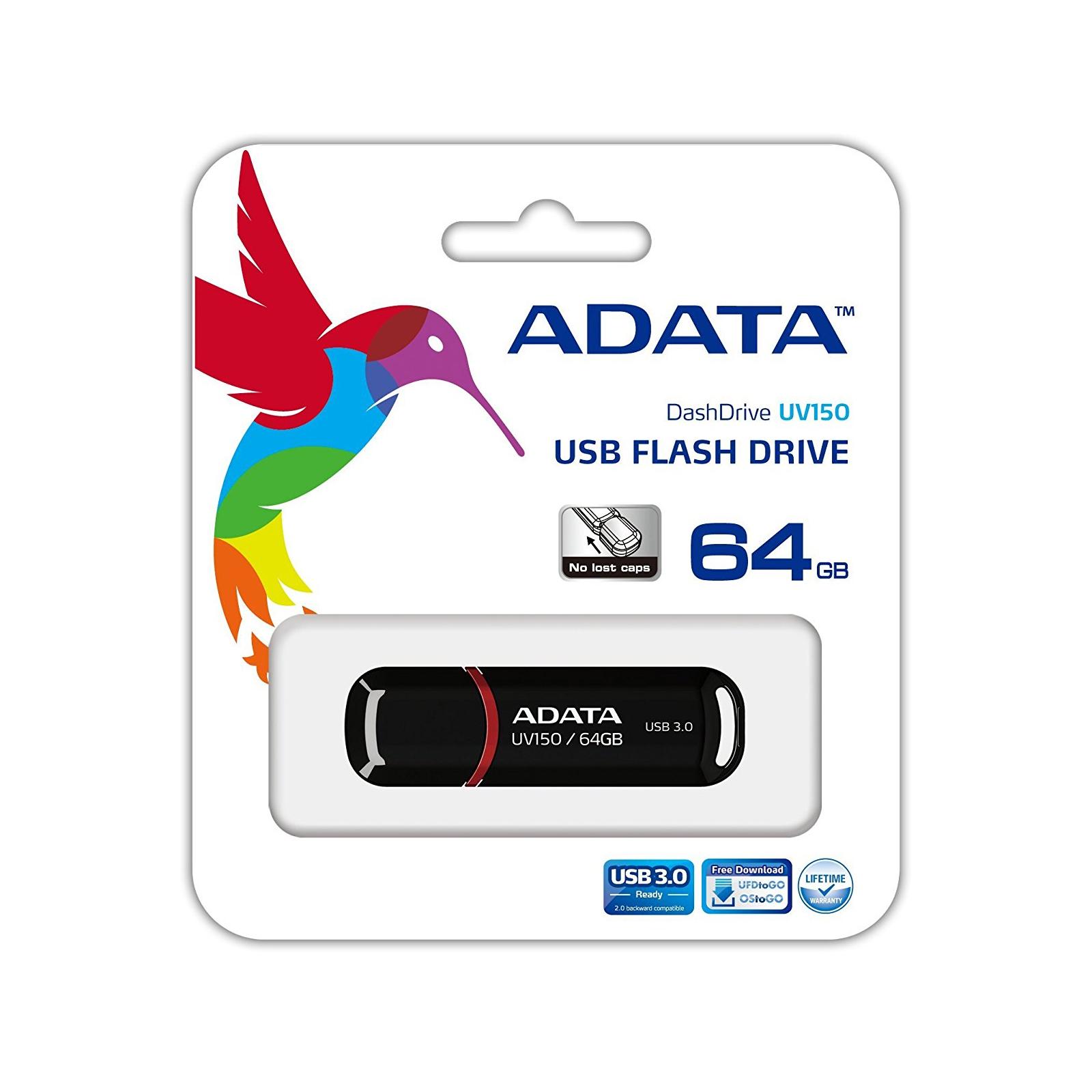 USB флеш накопитель ADATA 64GB UV150 Black USB 3.0 (AUV150-64G-RBK) изображение 4