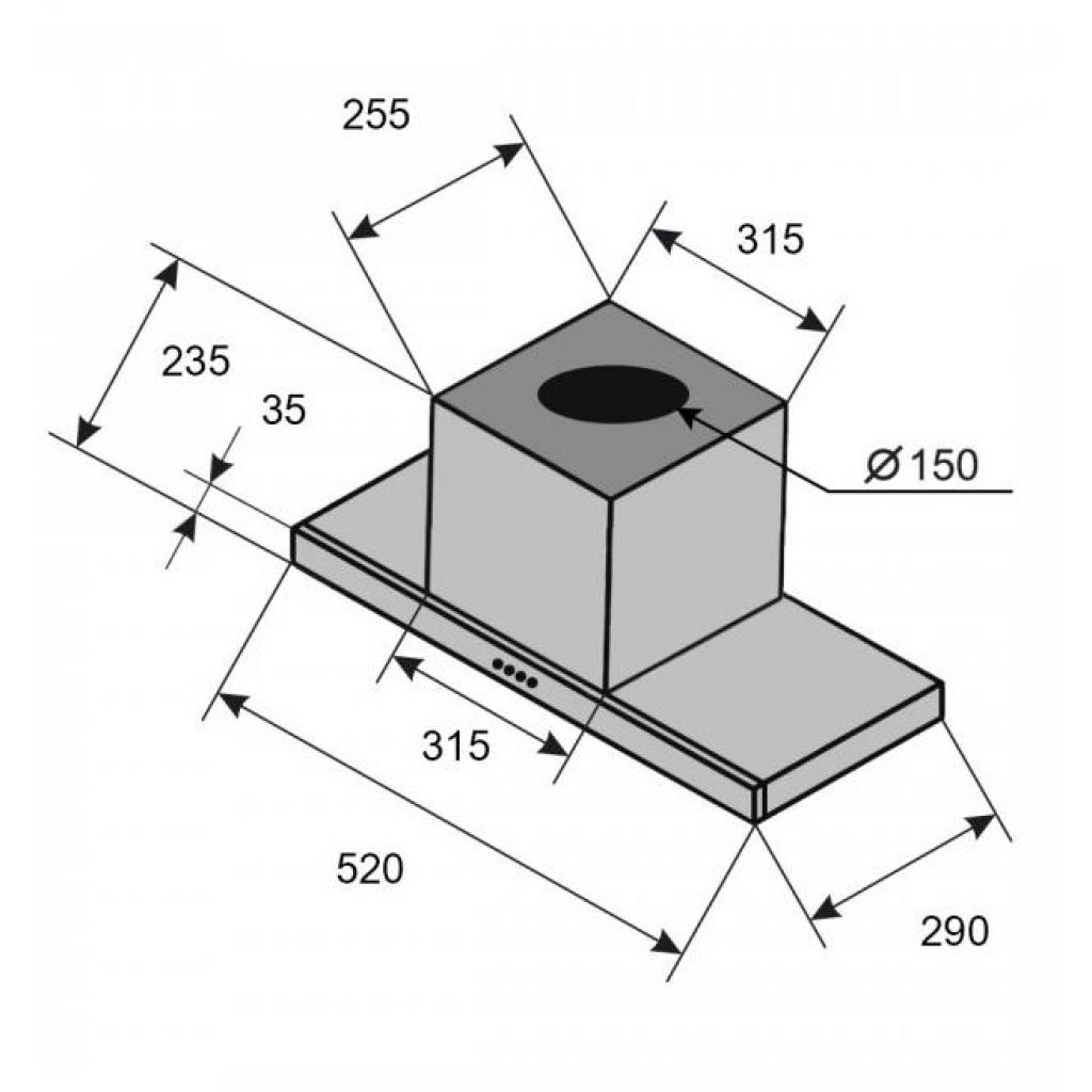 Вытяжка кухонная VENTOLUX PUNTO 60 BG (1200) TRC изображение 6
