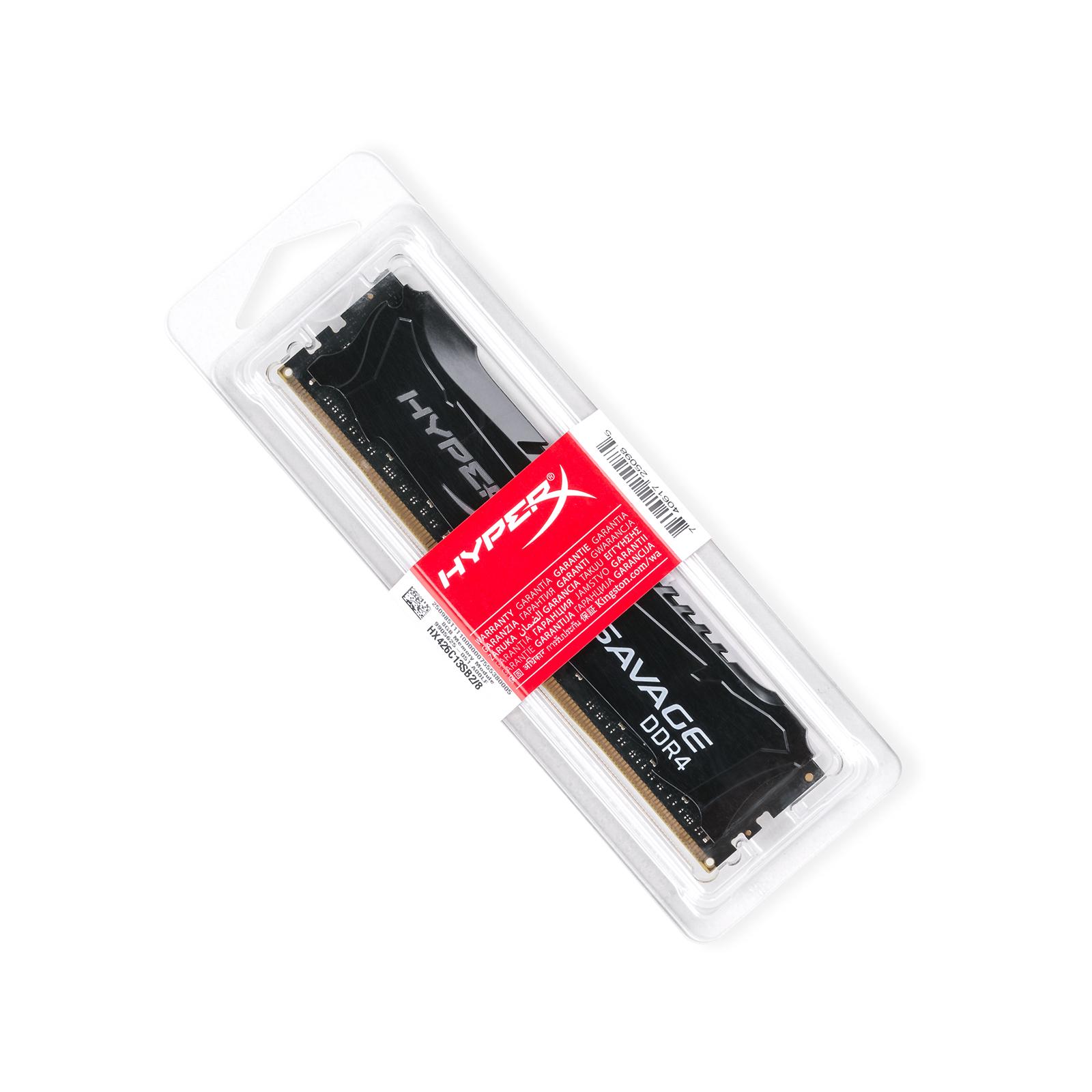 Модуль памяти для компьютера DDR4 8GB 2666 MHz HyperX Savage Black Kingston (HX426C13SB2/8) изображение 2