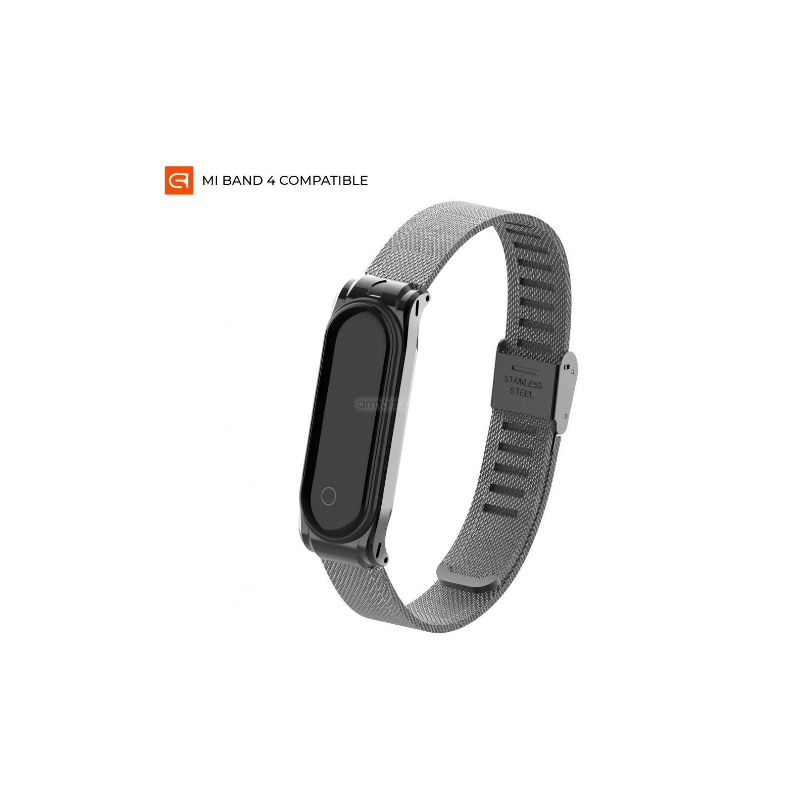 Ремешок для фитнес браслета Armorstandart Milanese Band для Xiaomi Mi Band 4/3 Graphite Black (ARM55036)