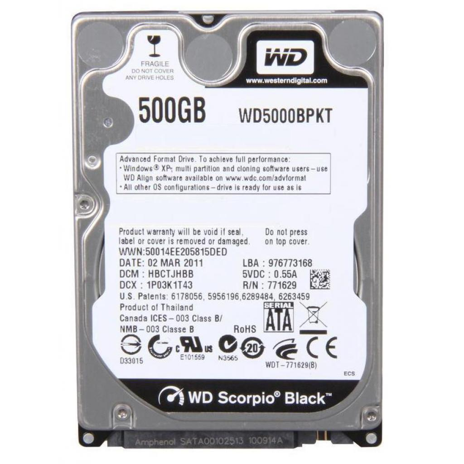 "Жесткий диск для ноутбука 2.5"" 500GB WD (#WD5000BPKT-FR#)"