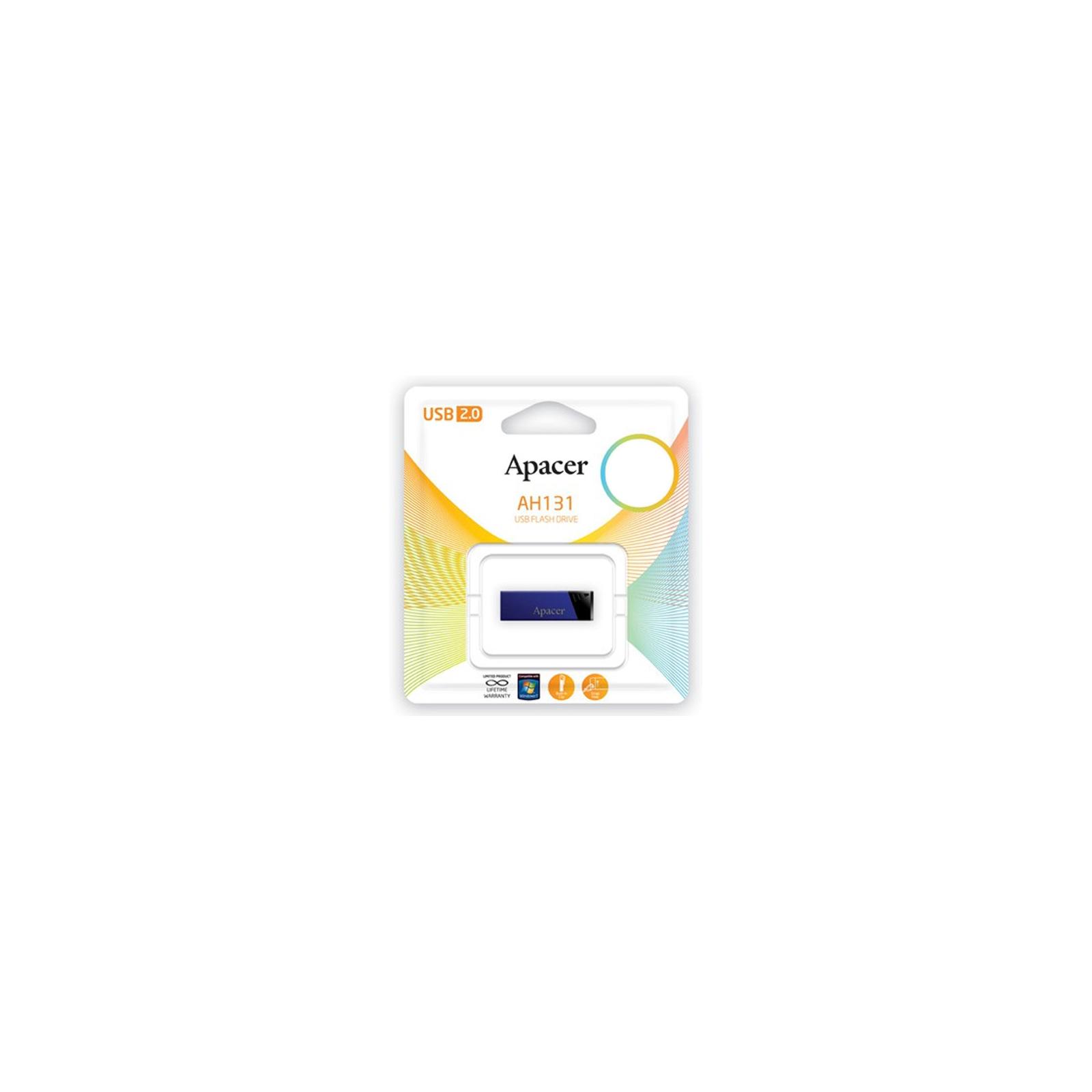 USB флеш накопитель 32GB AH131 Blue RP USB2.0 Apacer (AP32GAH131U-1) изображение 4