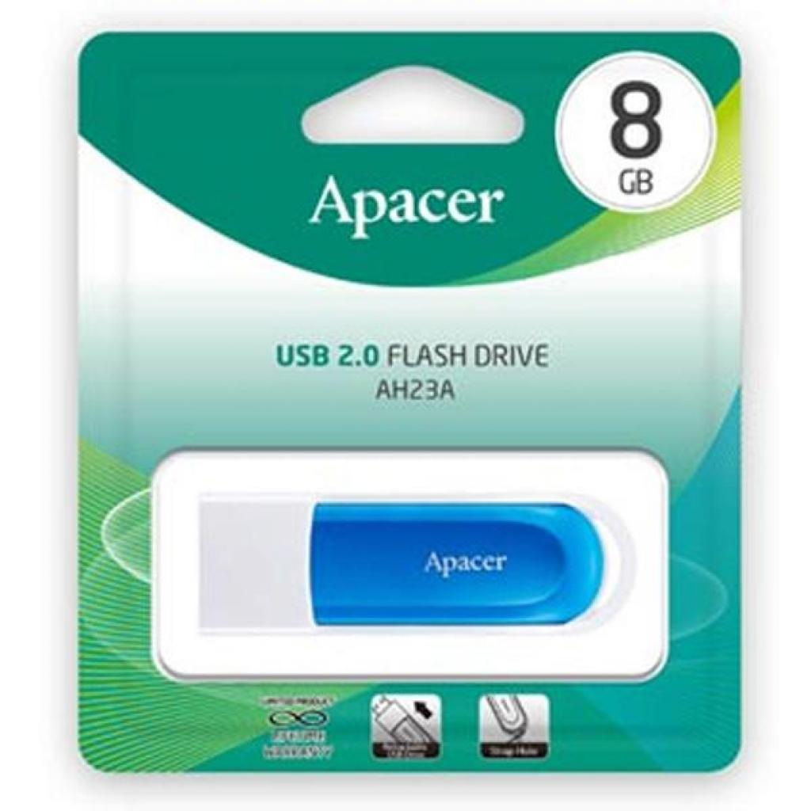 USB флеш накопитель Apacer 8GB AH23A White USB 2.0 (AP8GAH23AW-1) изображение 6