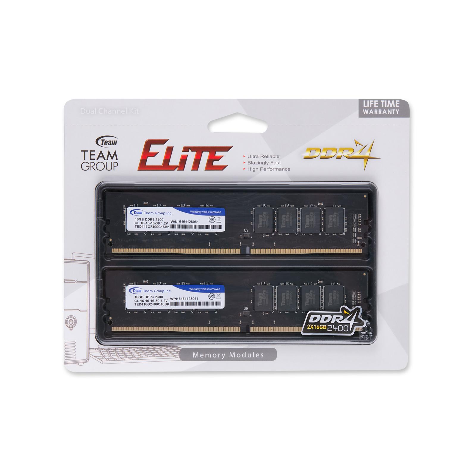 Модуль памяти для компьютера DDR4 32GB (2x16GB) 2400 MHz Team (TED432G2400C16DC01) изображение 4
